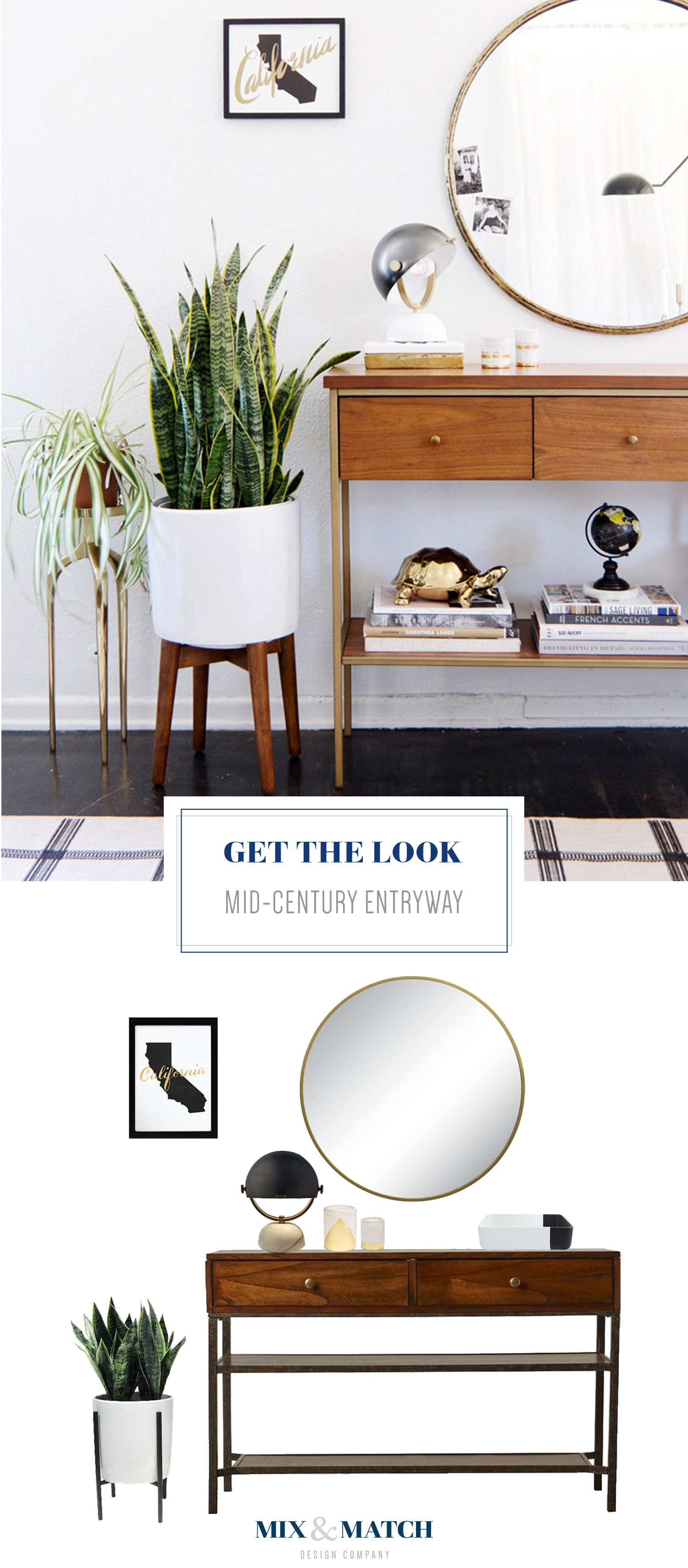 Get the look of this mid-century modern entryway with a console table and round mirror above.