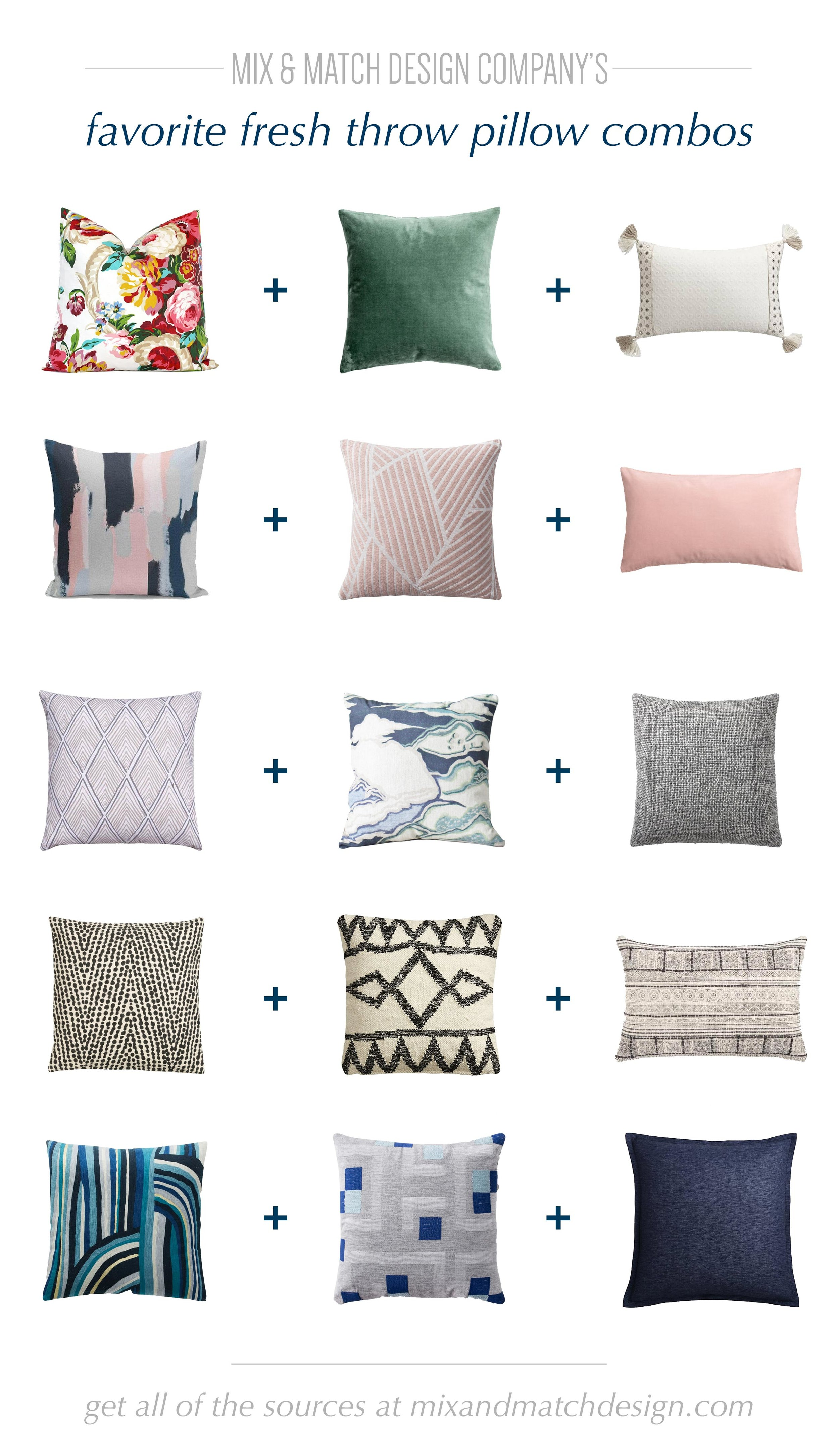 Need to refresh your home? An easy way to do it is with some new pillows! I've got tips on how to mix and match pillows as well as links to these five fresh combos to jumpstart your search.