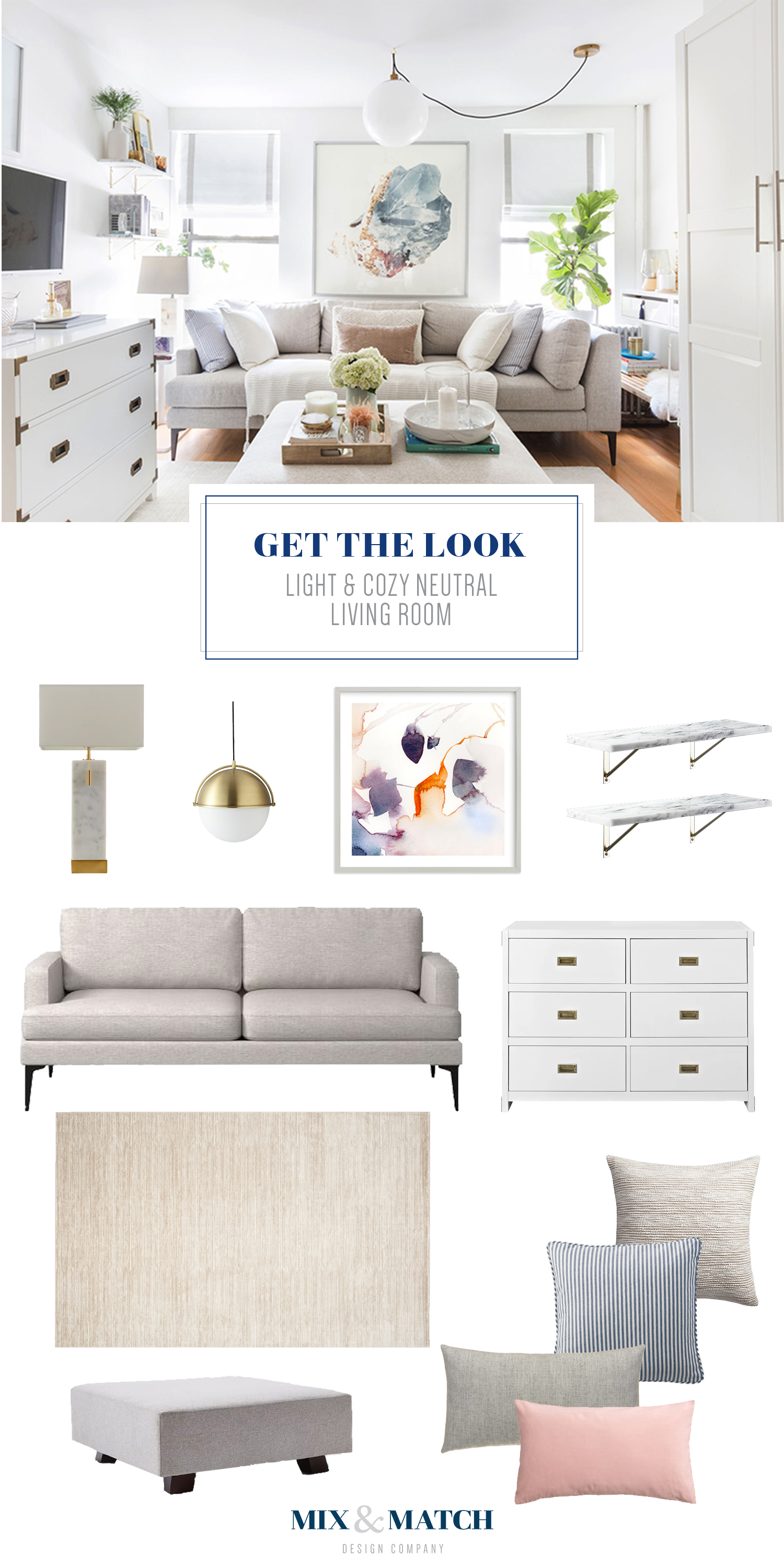 Get the look of this light and cozy neutral living room! All the sources for the pieces shown are on the blog.