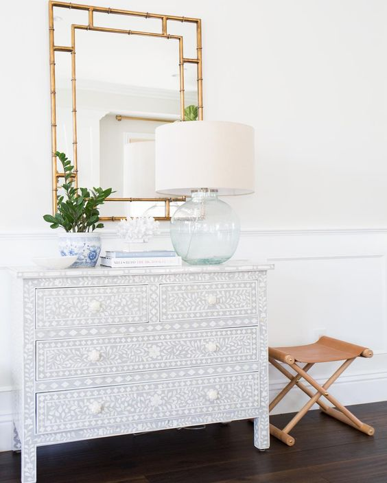 2018 home decor trends: bone inlay furniture (dressers, nightstands, mirrors, etc.)