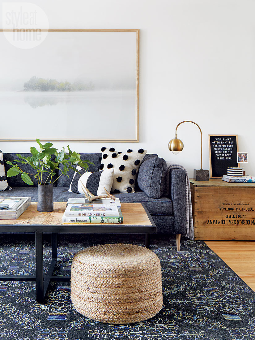 Get the look of this coastal modern living room on the blog! I'm loving the mix of indigo, black and natural woods. The rustic and modern pair so well together!