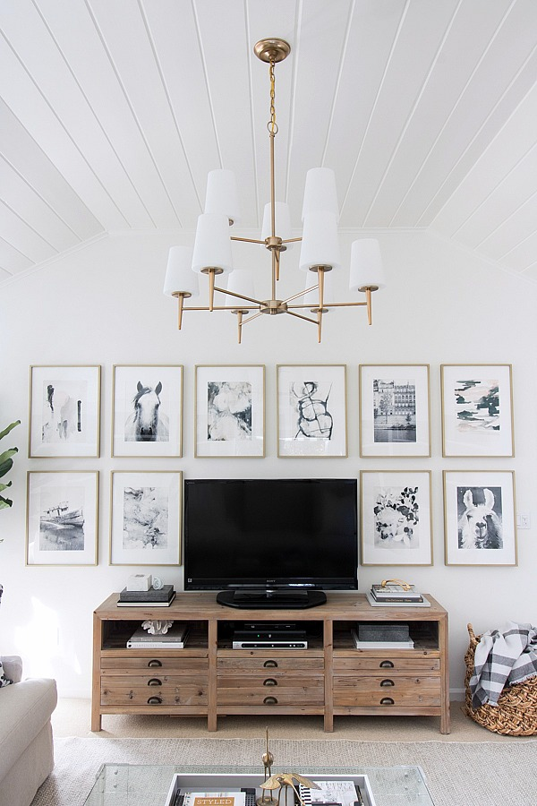 How to decorate around a TV: try a grid gallery wall! Come see all sorts of ideas and inspiration in this blog post!