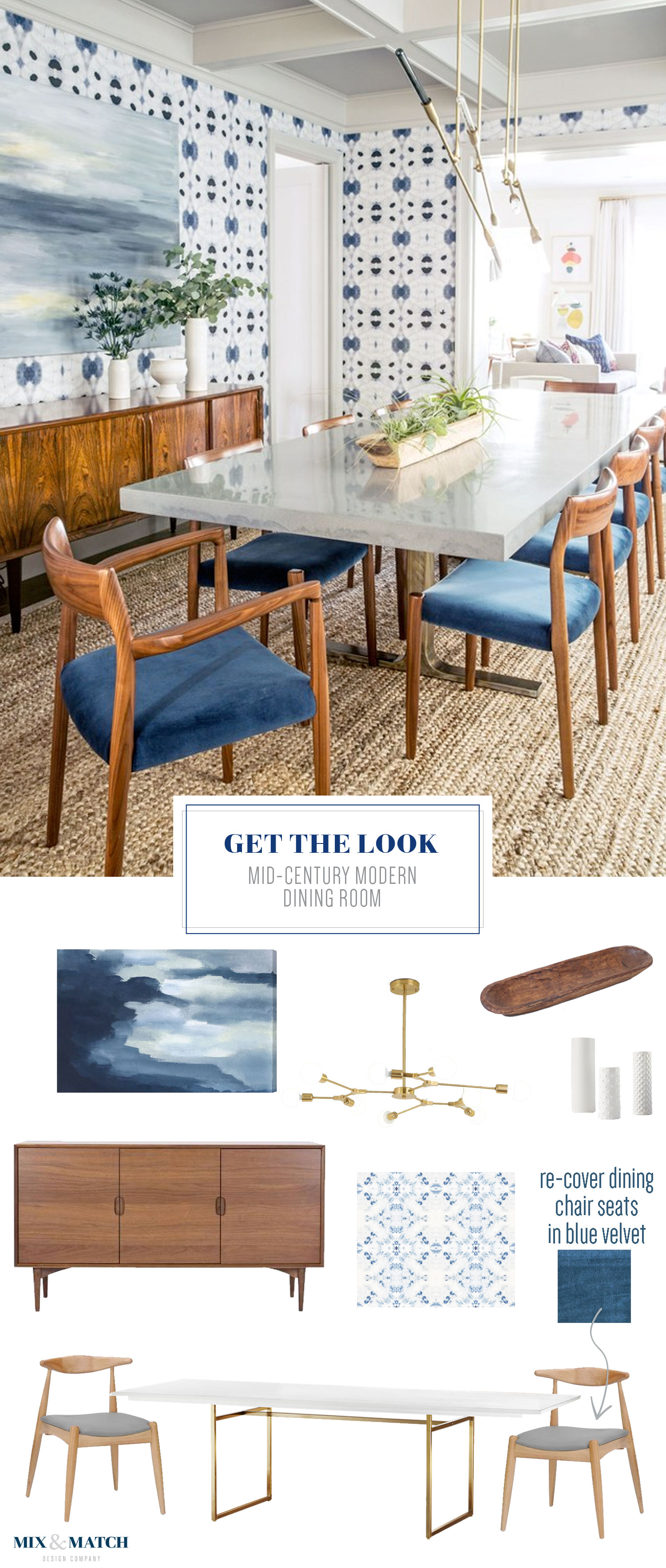 Get the look of this mid-century modern dining room on the blog! I love the indigo shibori style wallpaper and that gorgeous modern brass chandelier!