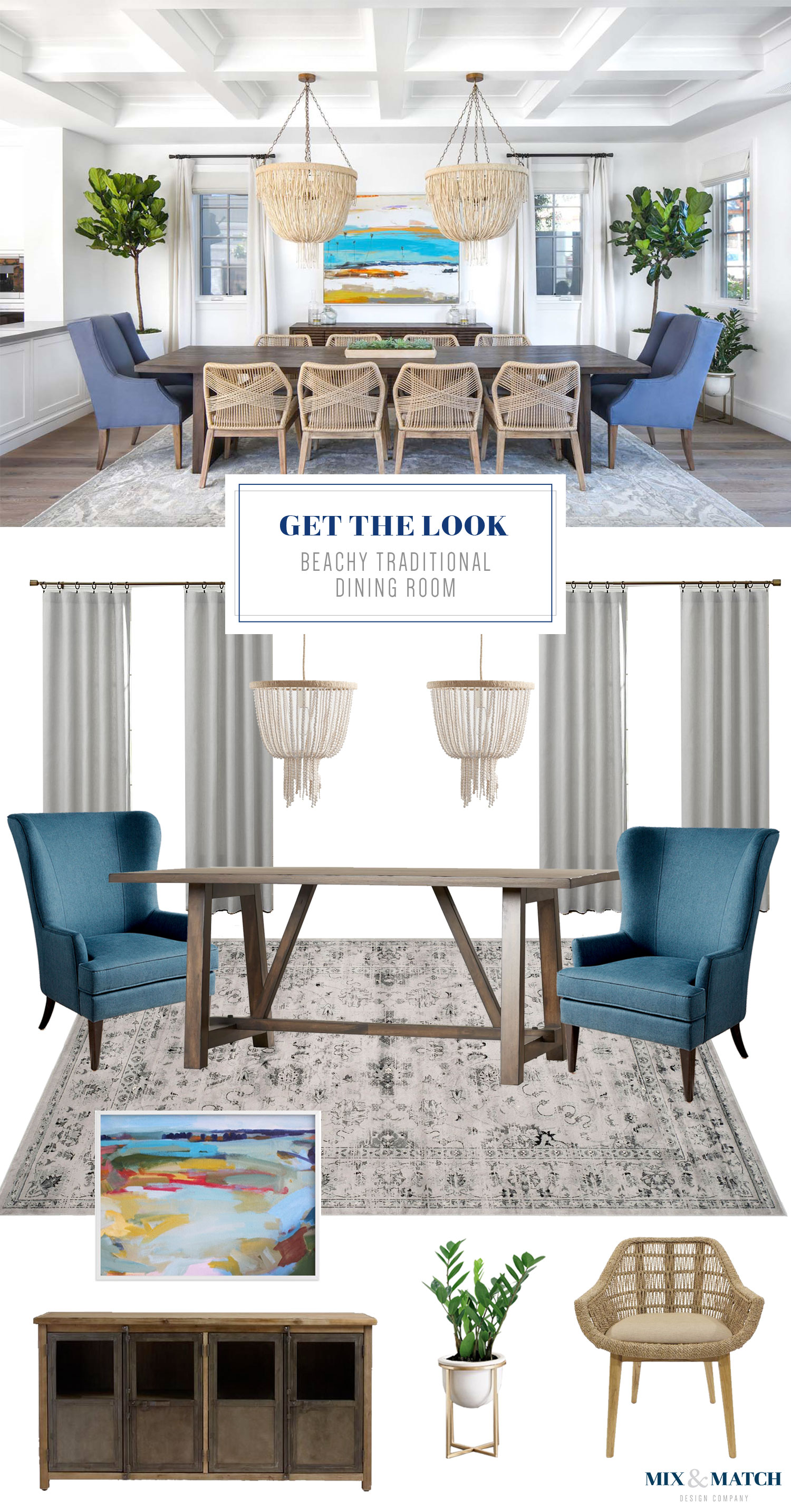 Get the look of this traditional meets beachy dining room on the blog! Coastal vibes, clean lines, and a touch of farmhouse make this space feel both cozy and sophisticated.