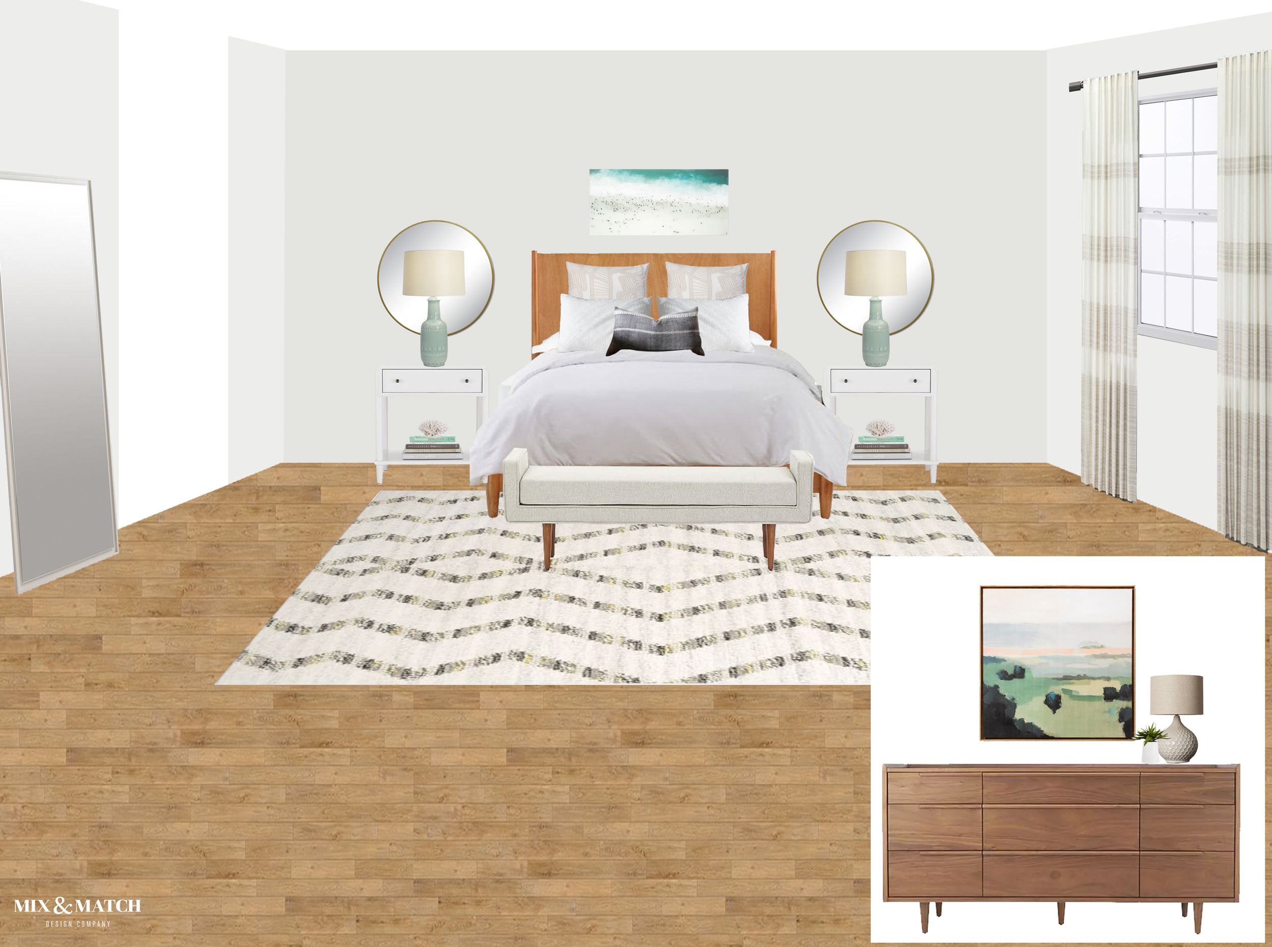A modern eclectic master bedroom design board from Mix & Match Design Company. The mid-century modern furniture feels cozy and warm next to the light and neutral tones in the rest of the space.