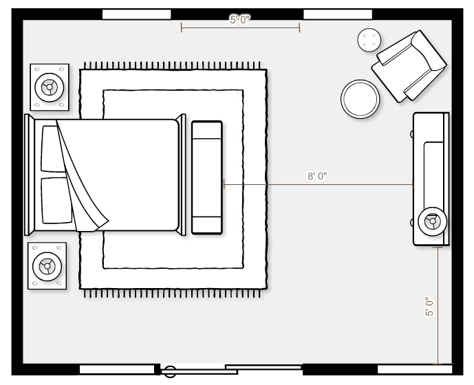 Floor plan for a master bedroom from Mix & Match Design Company