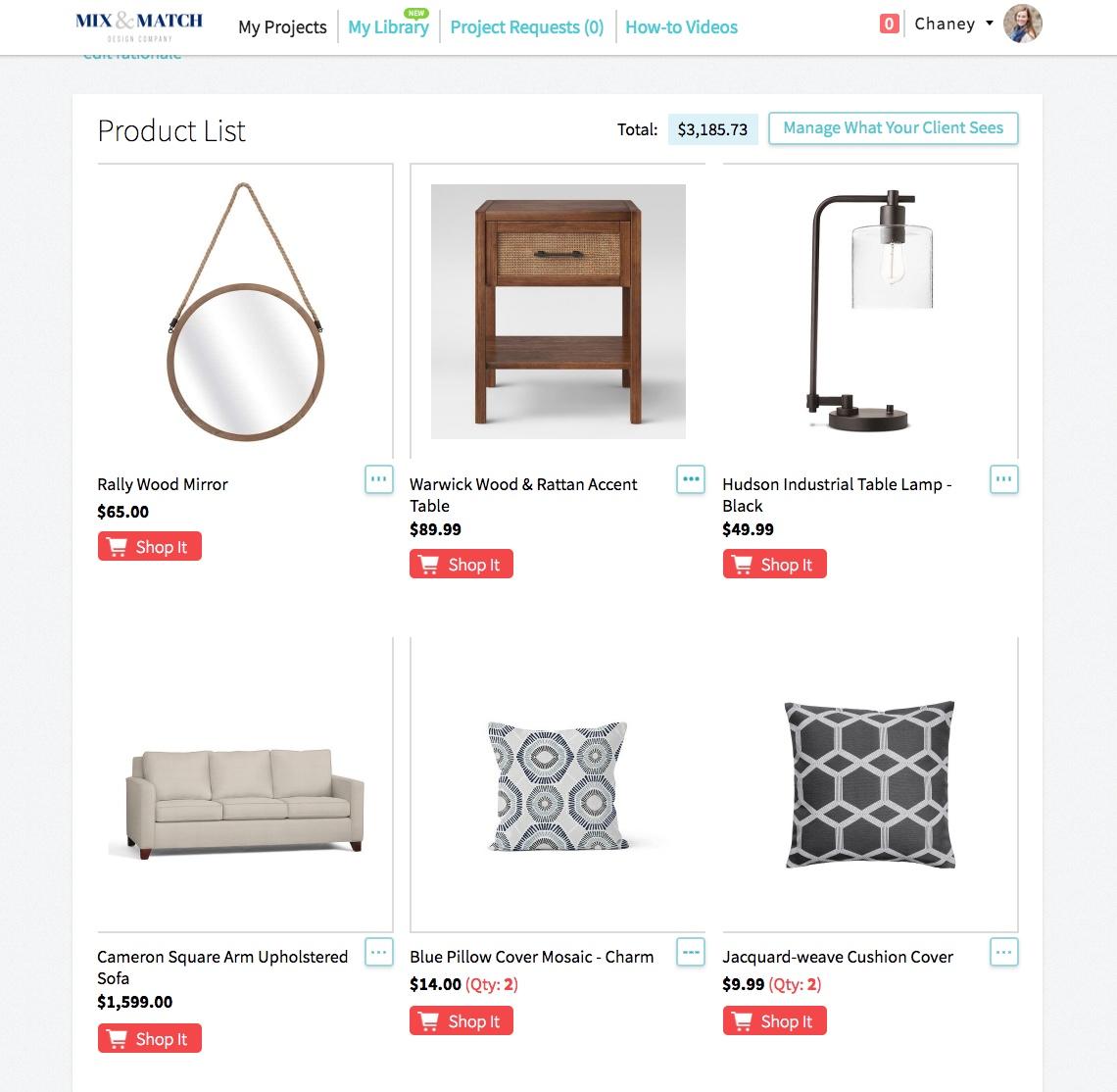 Example of a shopping list for an e-design client. (Designer: Mix & Match Design Company)