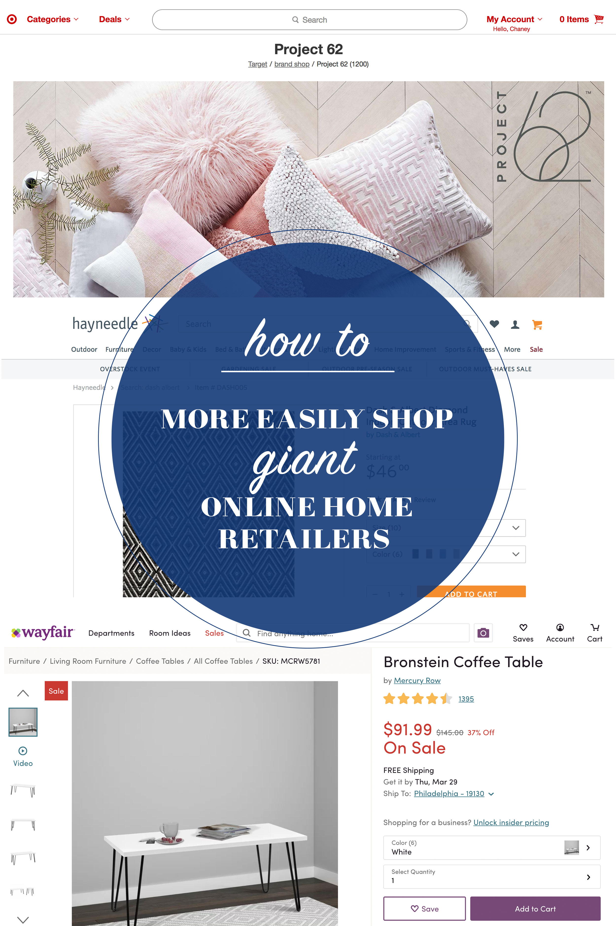 Want to know how to prevent overwhelm when you're shopping at those giant home retailers like Wayfair and Target? Head to this blog post for a quick tip!