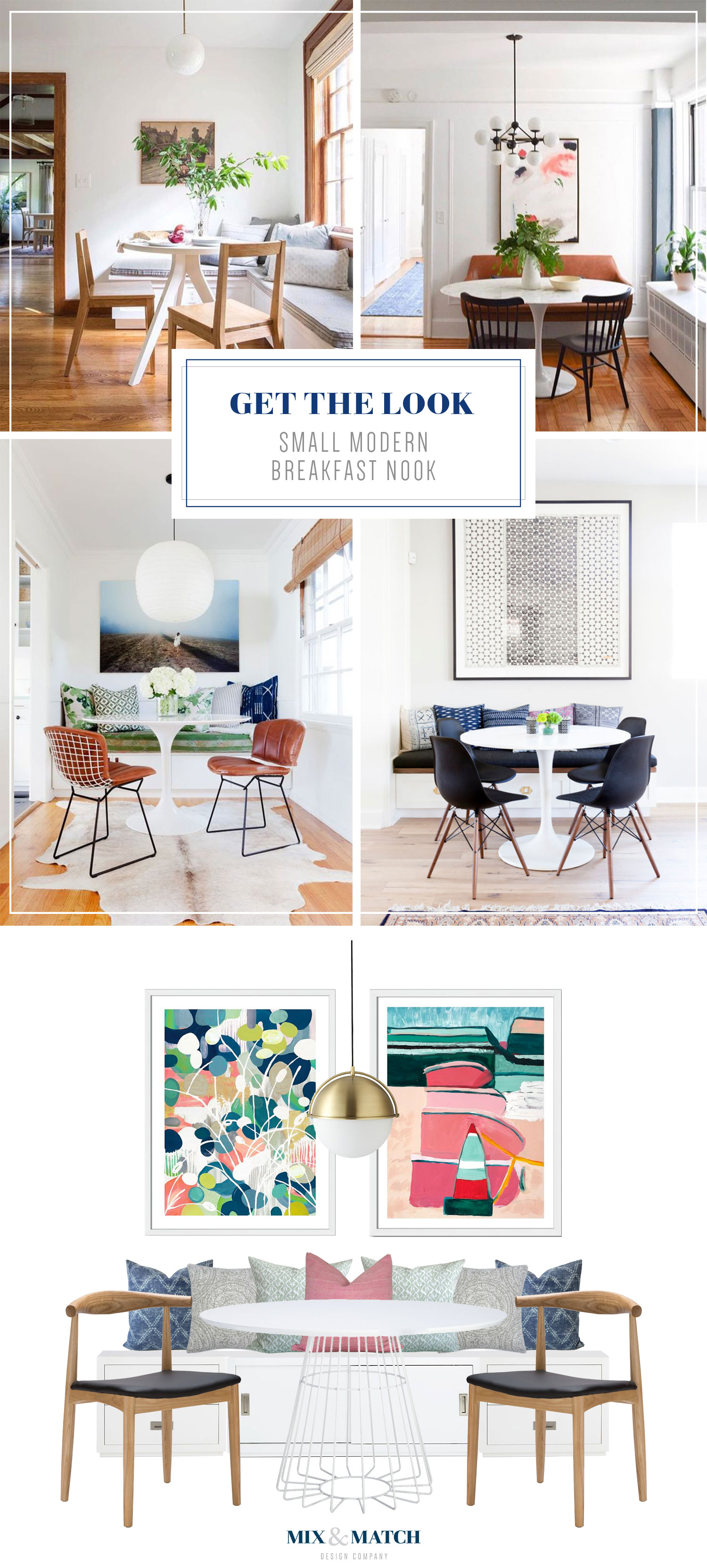 Get the look of this modern and colorful breakfast nook on the blog! A white pedestal table, mid-century modern chairs, abstract art, and a gorgeous set of pillows create a perfect spot for a cozy meal!