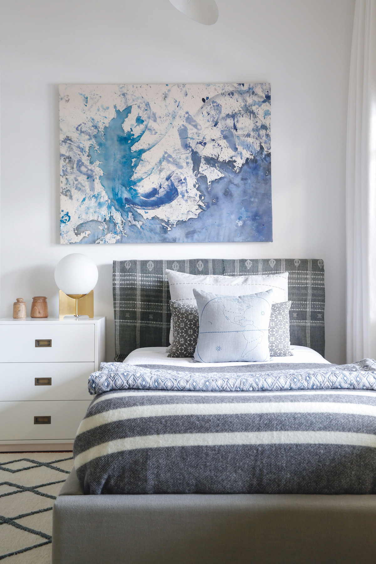 Sacramento Street Fall 2017 One Room Challenge. Cozy modern boy's bedroom with blue art and gray bedding.