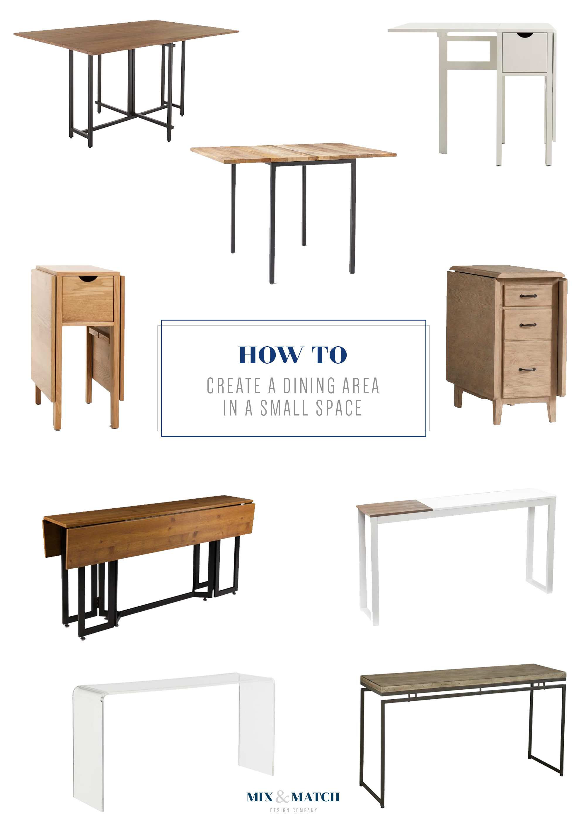 How to create a dining area in a small space. Using a gate leg table or a console table is a great way to be efficient with your space.