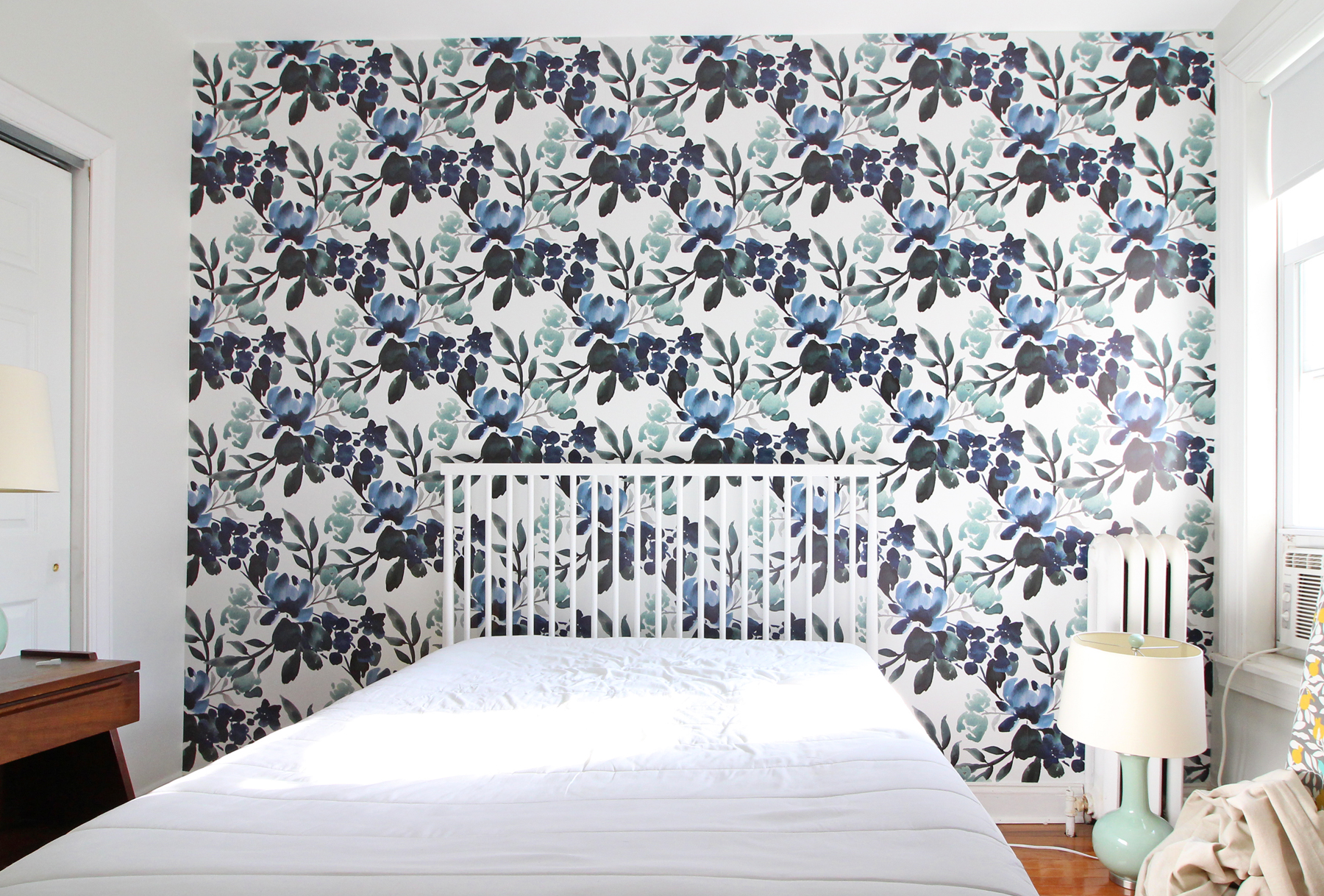 PROGRESS: after the installation of the blue green floral wallpaper from Sweet Pea Wall Design!