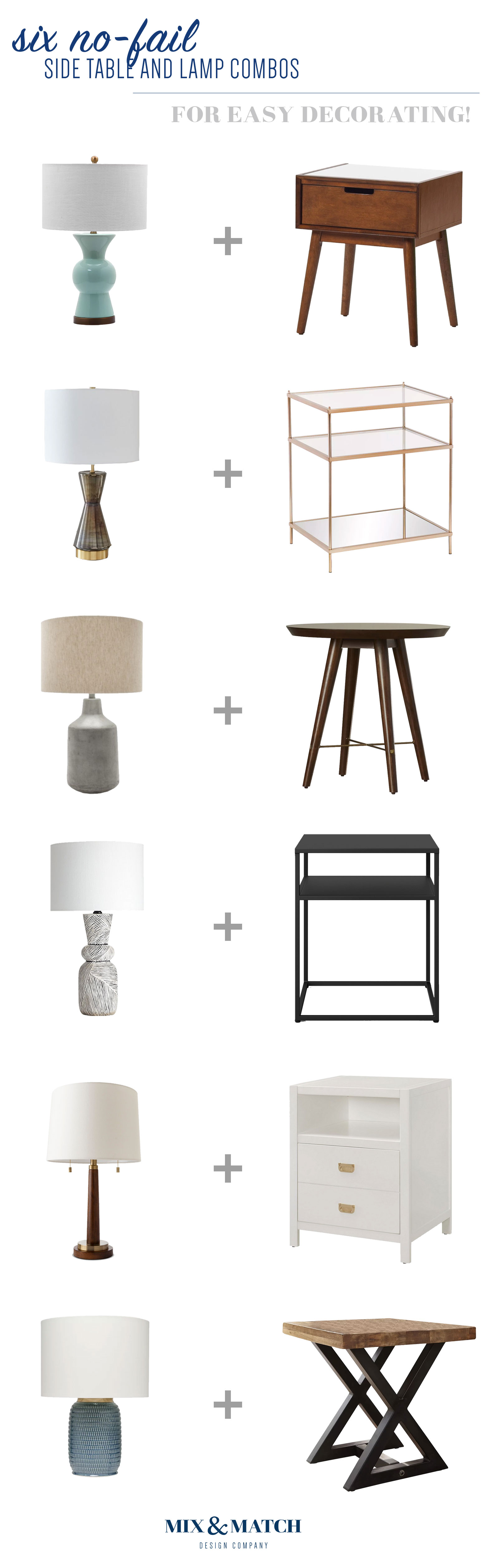 How do you go about choosing the right side table and lamp combination? Head o over to this blog post! I'll teach you how, plus you can find the sources for these six no-fail combos.