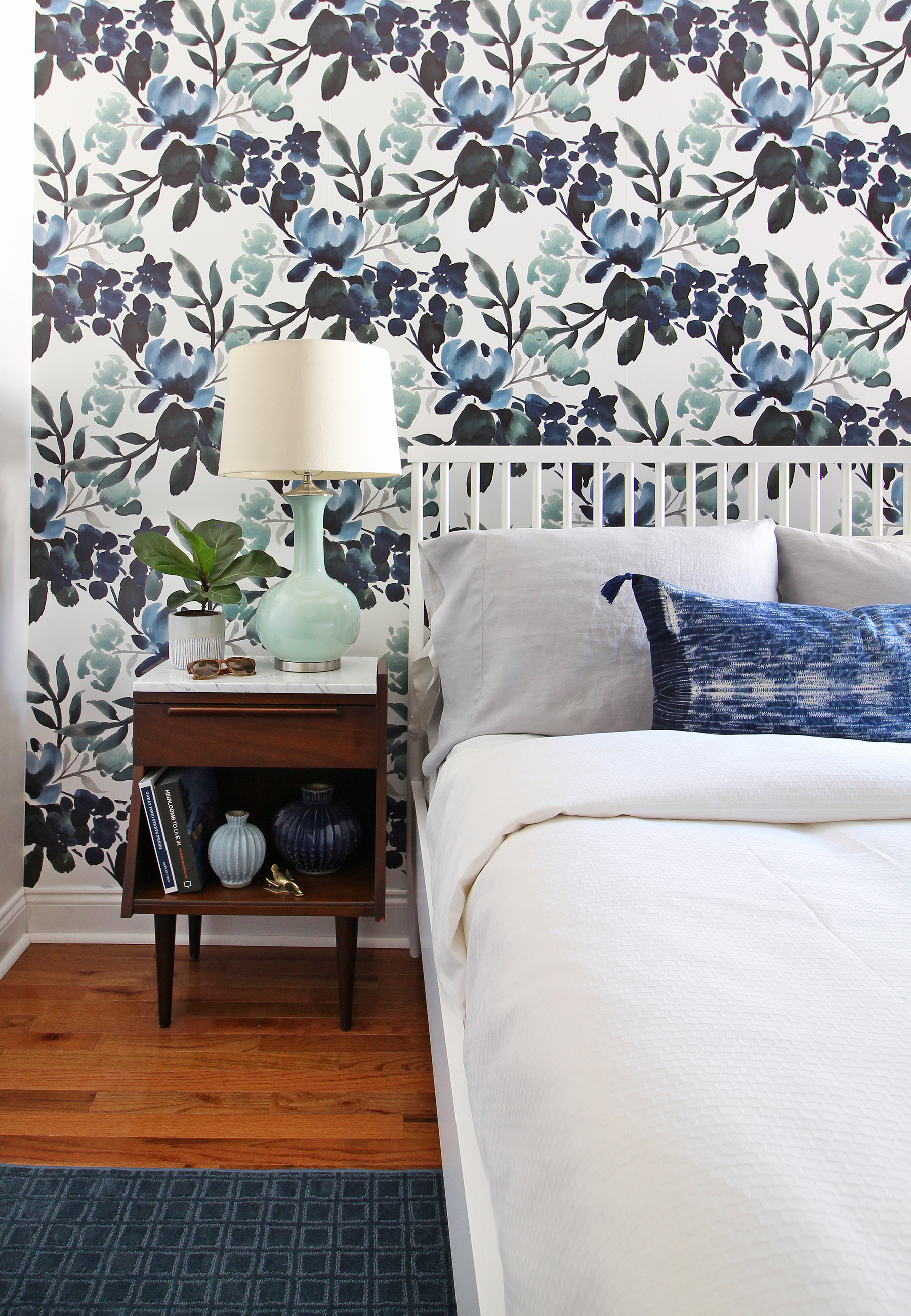 Have you ever tried temporary wallpaper in your home? There are so many good options out there now, and they give you a chance to add some serious fun and pattern to a room without the full commitment of permanent wallpaper. Come see my list of favorites (including this pretty blue green floral) over on the blog.
