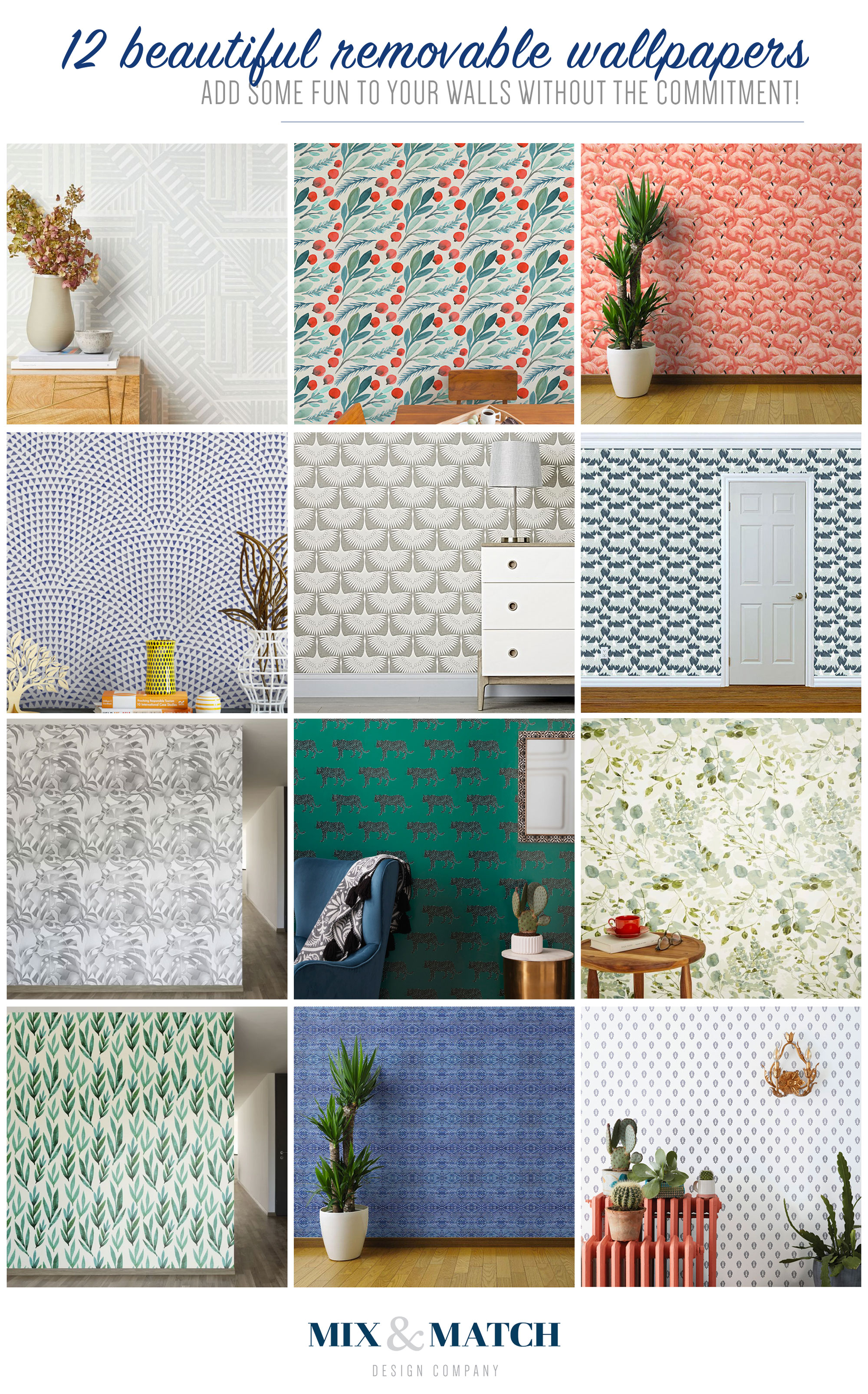 Looking to add some removable wallpaper to your home? Look no further! I've got twelve awesome ones to choose from on the blog. Temporary wallpaper is perfect for renters or for those of us who want to try something without a high commitment.