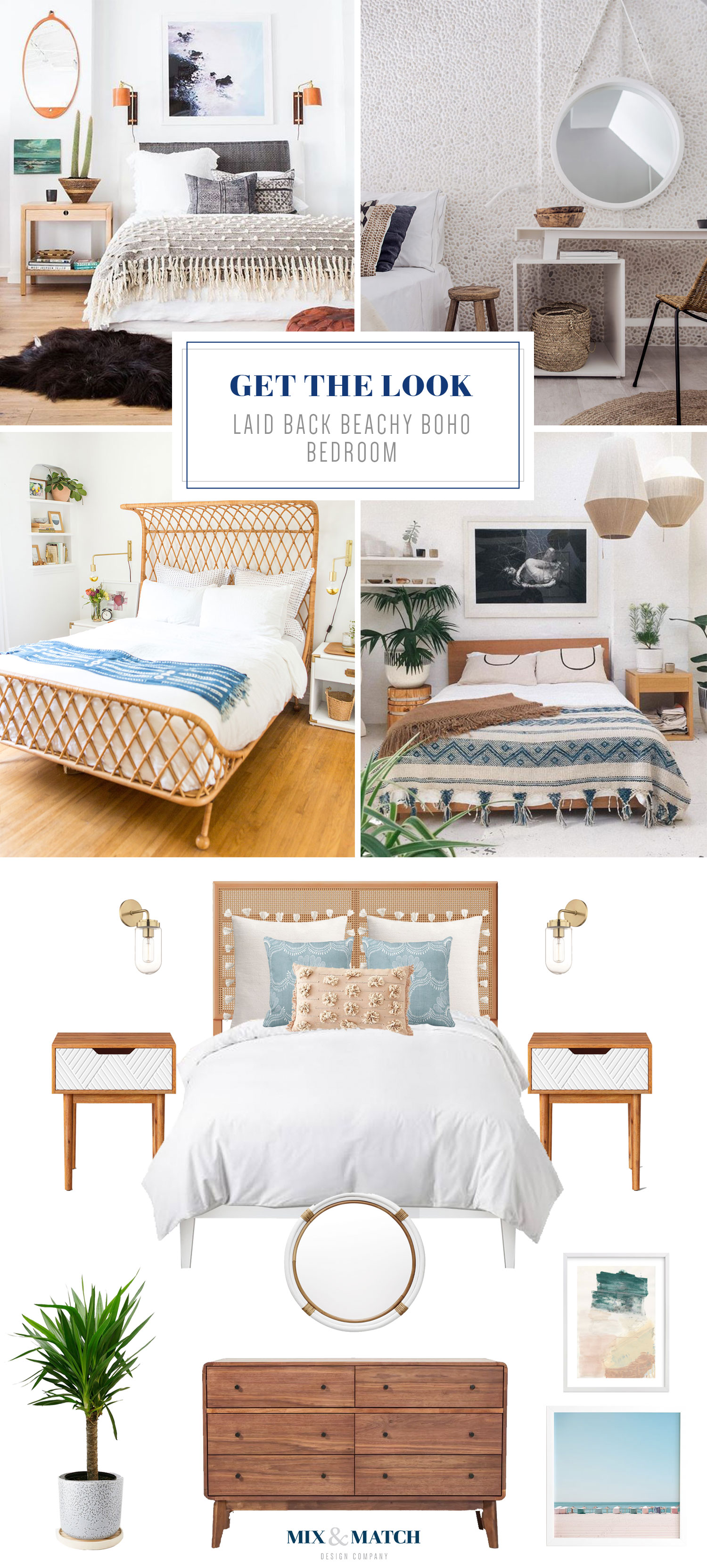 A beachy, laid back boho-inspired bedroom look from Mix & Match Design Company. I'm loving the use of textures, the light and airy feel, and the natural wood elements mixed with soft colors.