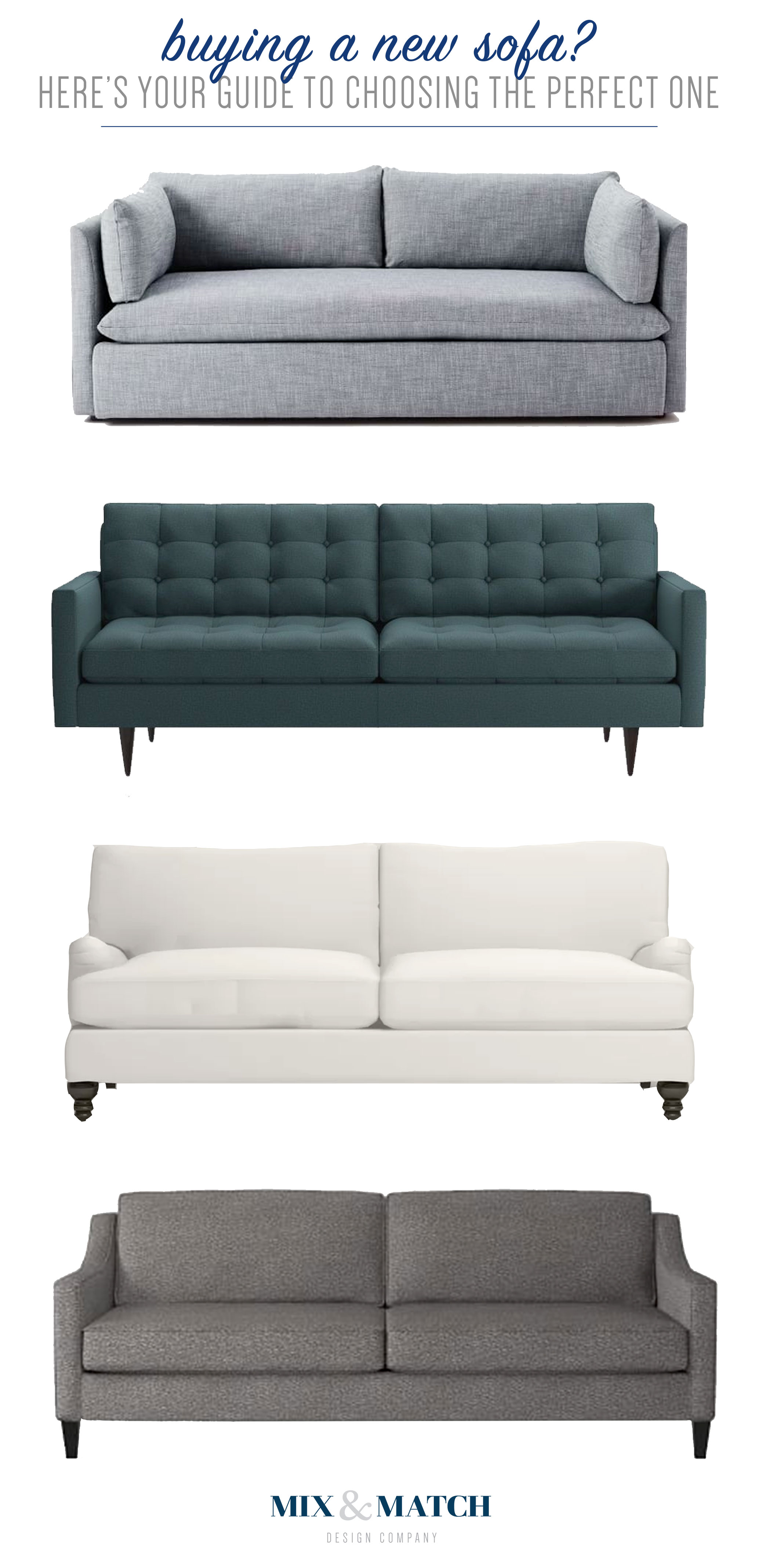 Buying a sofa soon? There's a lot to think about! Here's a guide to helping you think through how to find the perfect couch for your home. // Design guide, how to pick a sofa, shopping for a sofa, sofa buying tips.