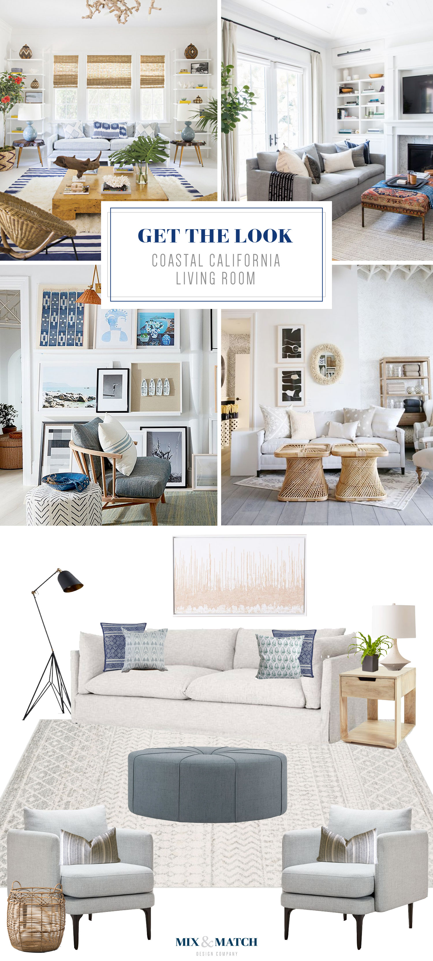 Get the look of this coastal California living room on the Mix & Match Design Company Blog. This neutral living room with slipcovered sofa, modern gray accent chairs, and natural wood accents feels laid back and casual.