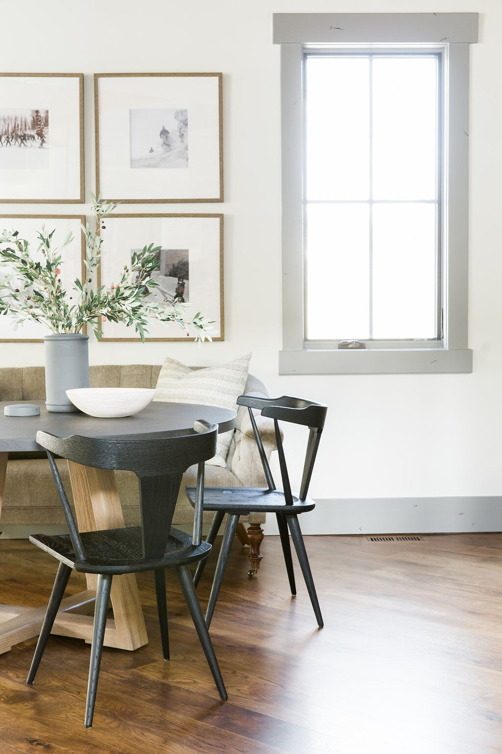 A modern minimalist dining room with European styling. I love the way the neutrals flow together!