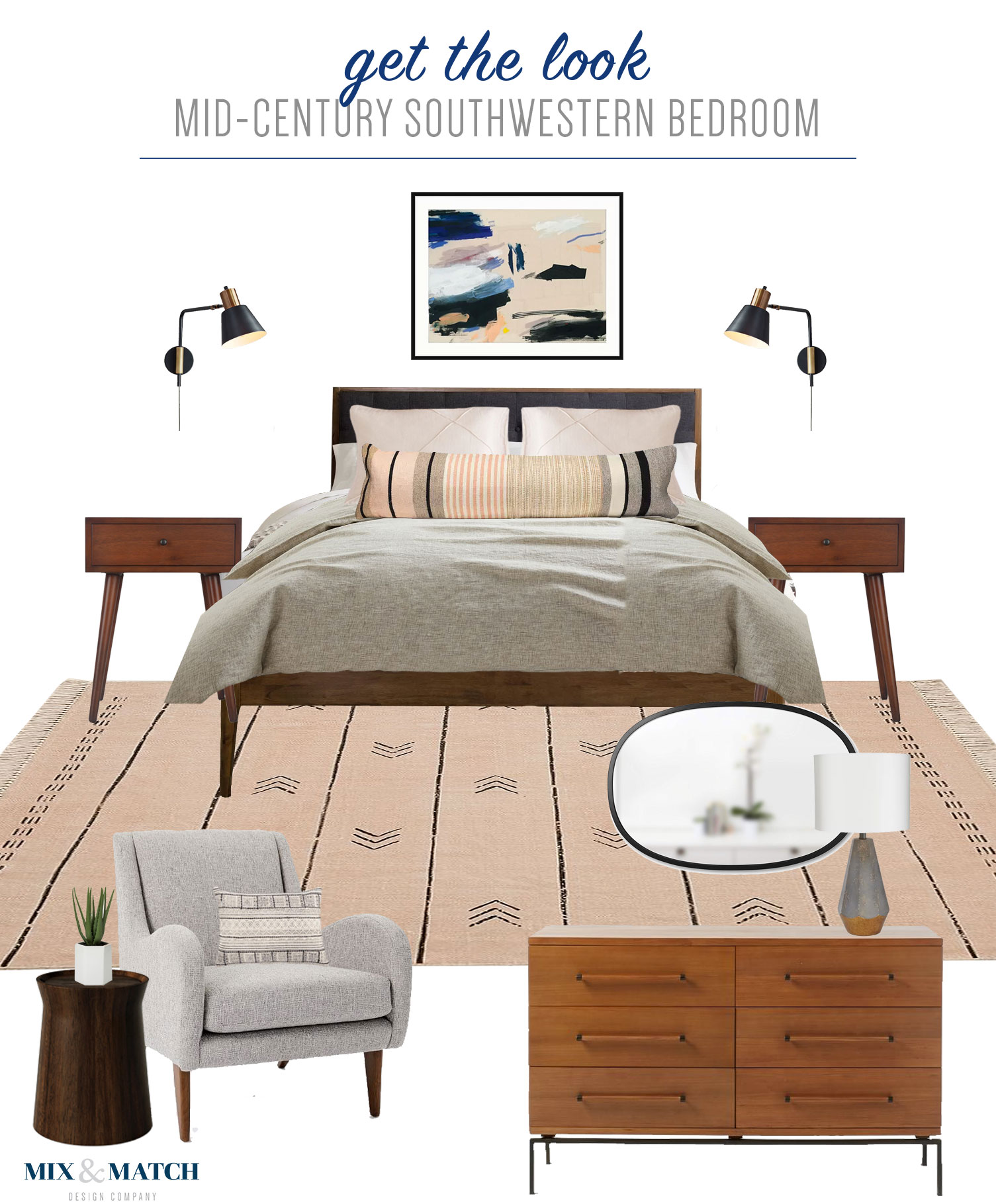 Get the look of this mid-century southwestern bedroom on the Mix & Match Blog