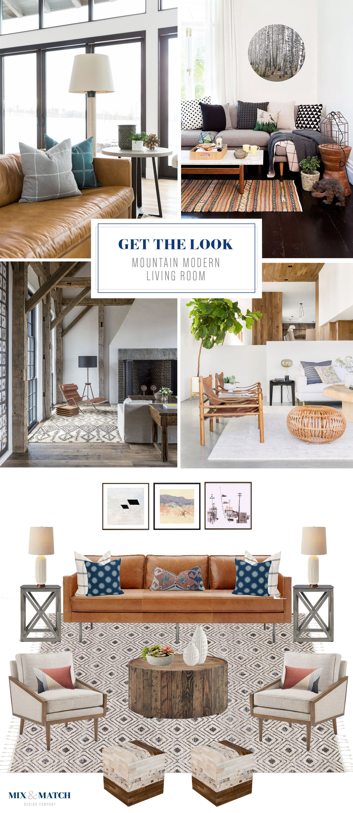 Get the look of this mountain modern living room // modern rustic living room with bohemian and mid-century touches, and a leather sofa