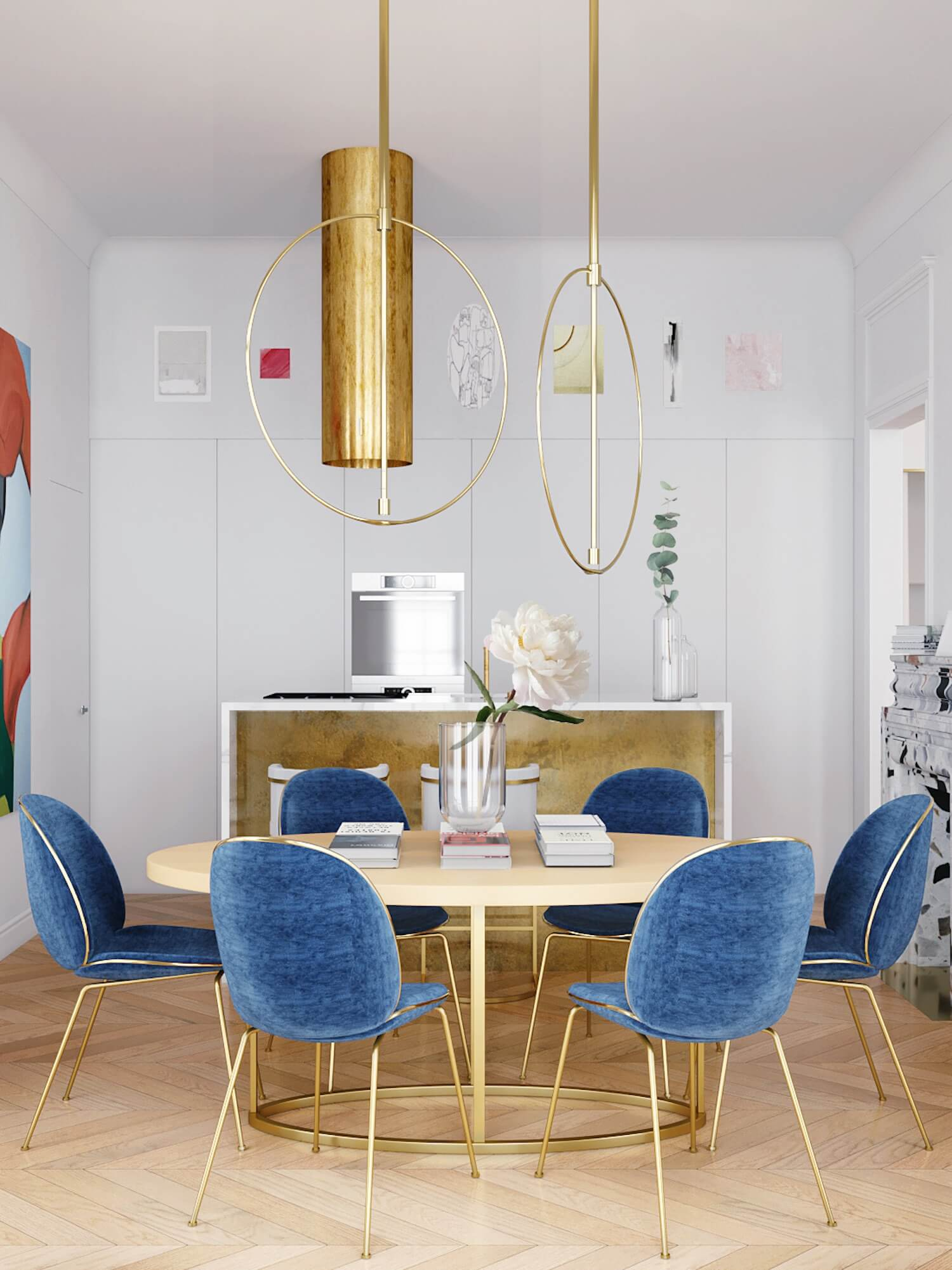 Inspiration for a fresh classic dining room. Love the blue velvet dining chairs paired with the brass chair and table legs.