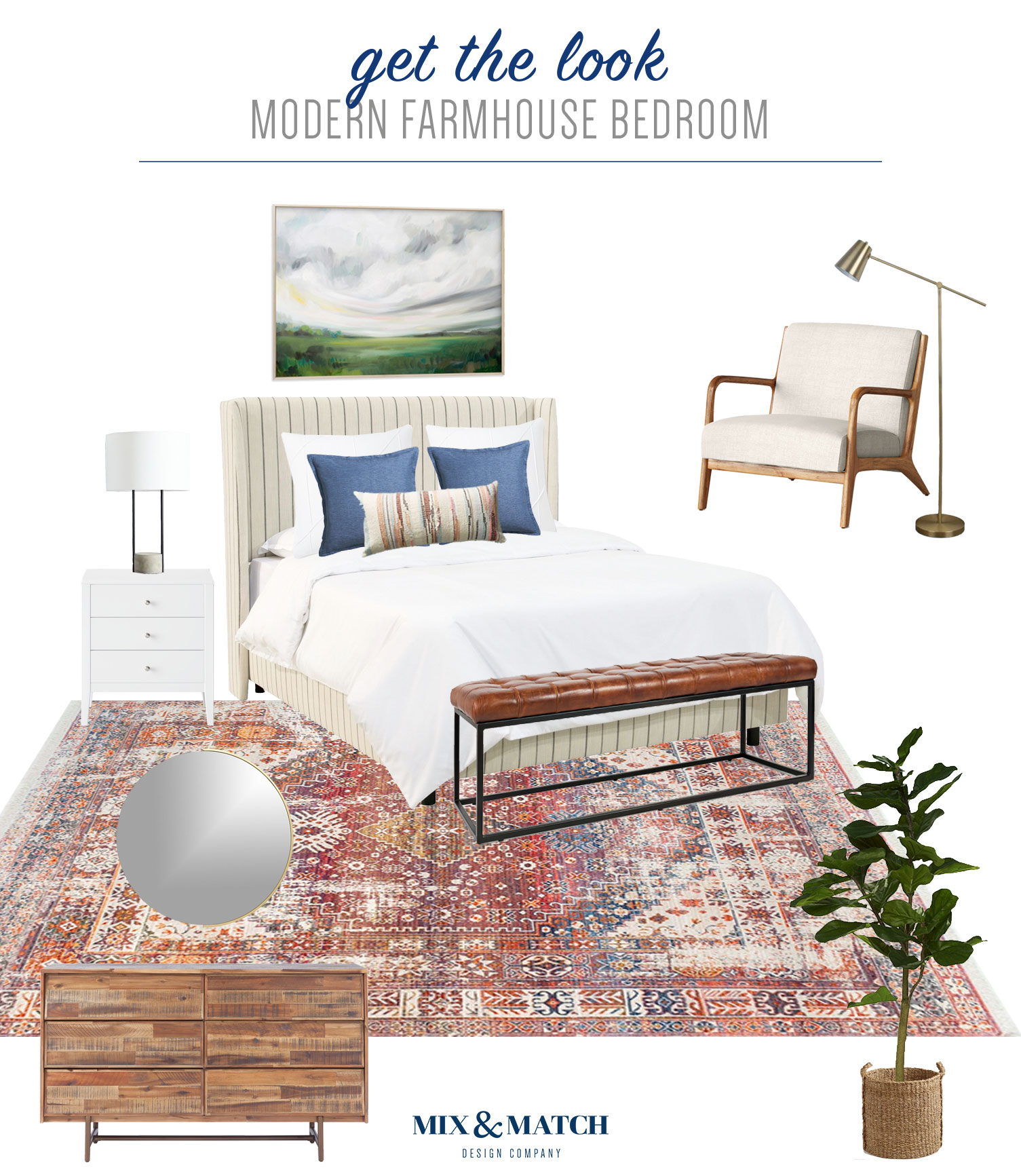 Get the look of this modern farmhouse bedroom over on the Mix & Match blog! Clean lines and rustic furniture pieces mix together beautifully to make for a casual and pretty bedroom design!