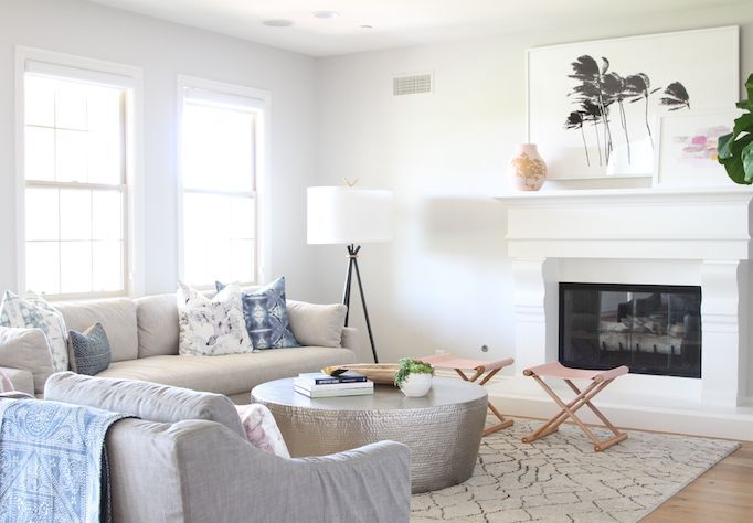 Inspiration for a California Boho living room. If you're looking for ideas on how to decorate in this eclectic coastal modern style, I've got you covered! Head to the blog for my take on this bright and airy living room look.