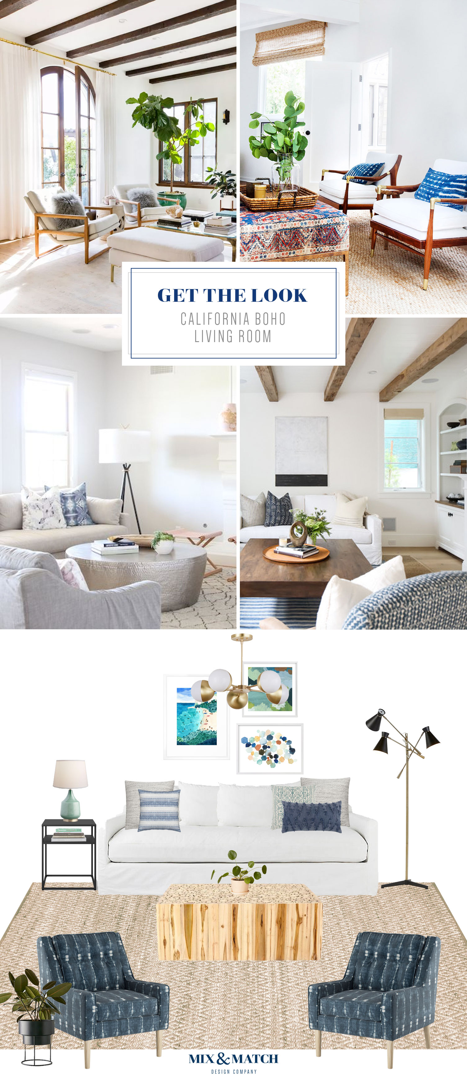 Get the look of this California Boho living room over on the Mix & Match blog! This coastal modern decorating style has a light and airy, yet cozy feel.
