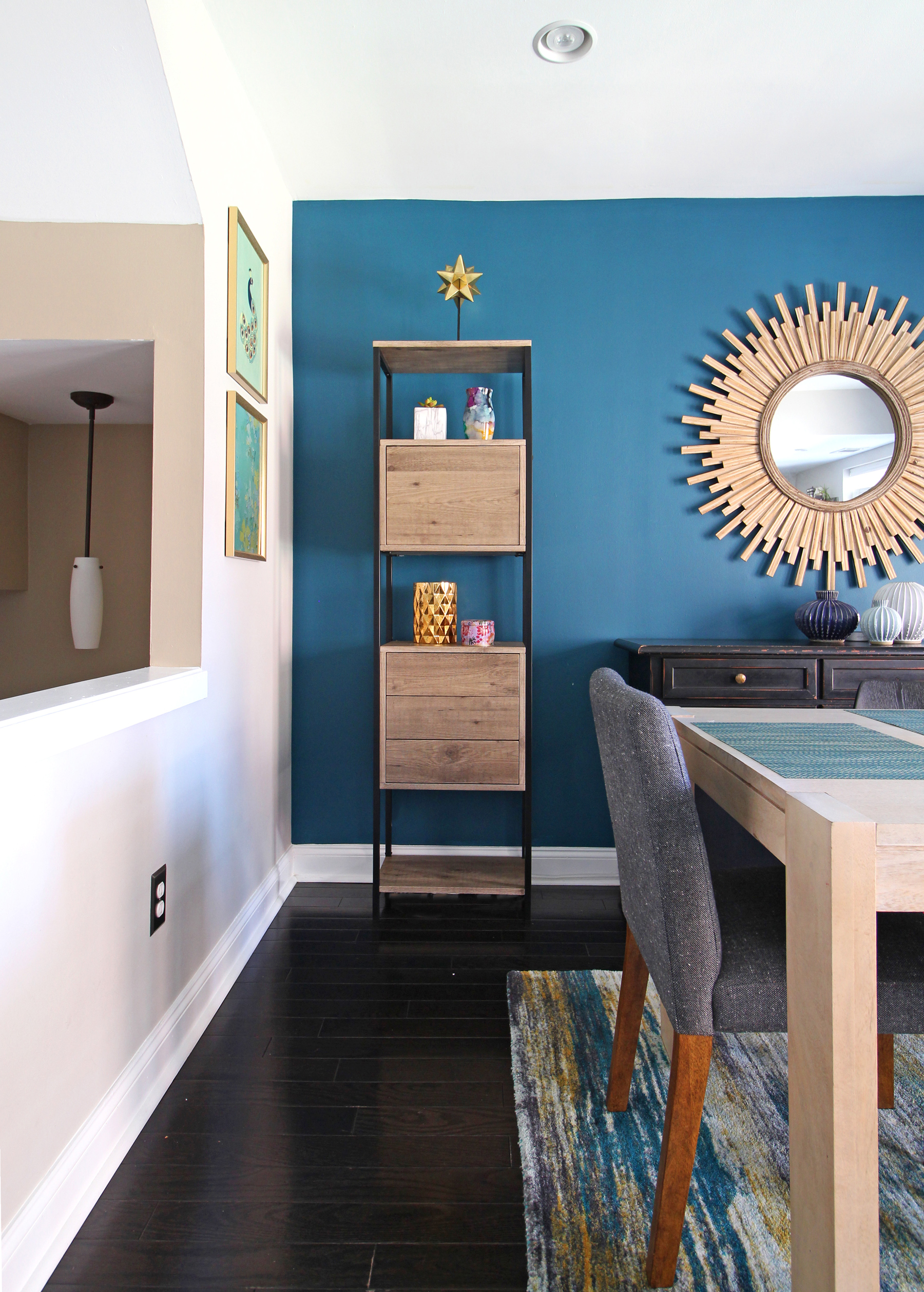Make the most of the vertical space in your home by adding bookshelves that have both open and closed storage. Find more small space design tips over on the Mix & Match blog!