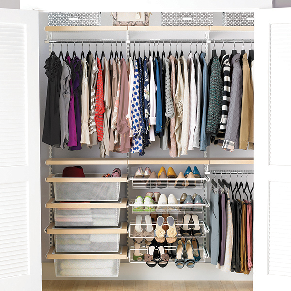 The  Elfa system from The Container Store is one of my favorite custom closet solutions - it comes in a ton of styles that you can install in your smallest reach-in closet all the way up to a large walk-in. Want more design ideas for small spaces? Head to the Mix & Match blog!