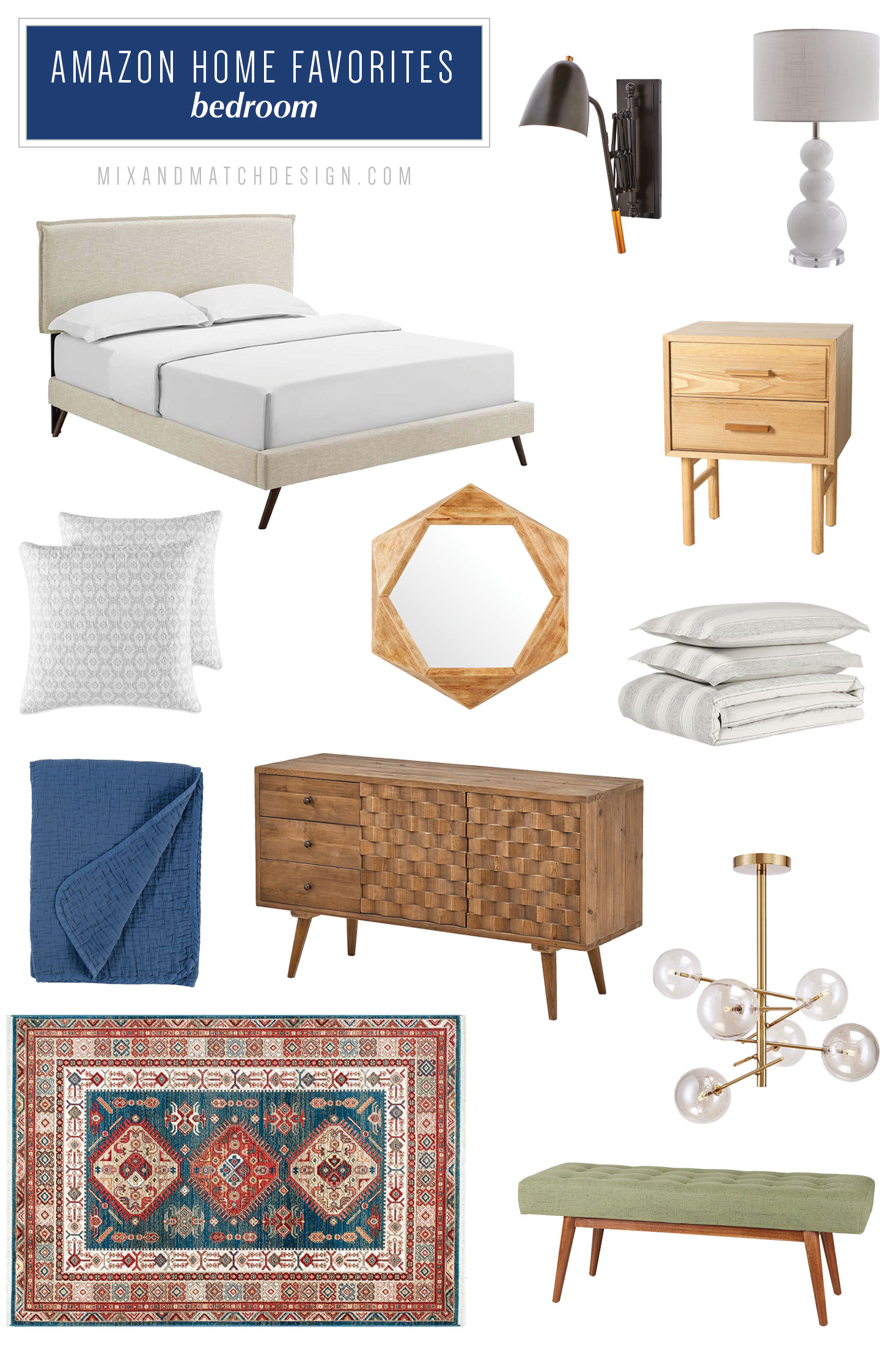 Amazon has an ever-growing selection of home furniture and decor and I've pulled together a few of my favorites for your living room and bedroom. They have pieces for just about every style - farmhouse, industrial, mid-century, and more!