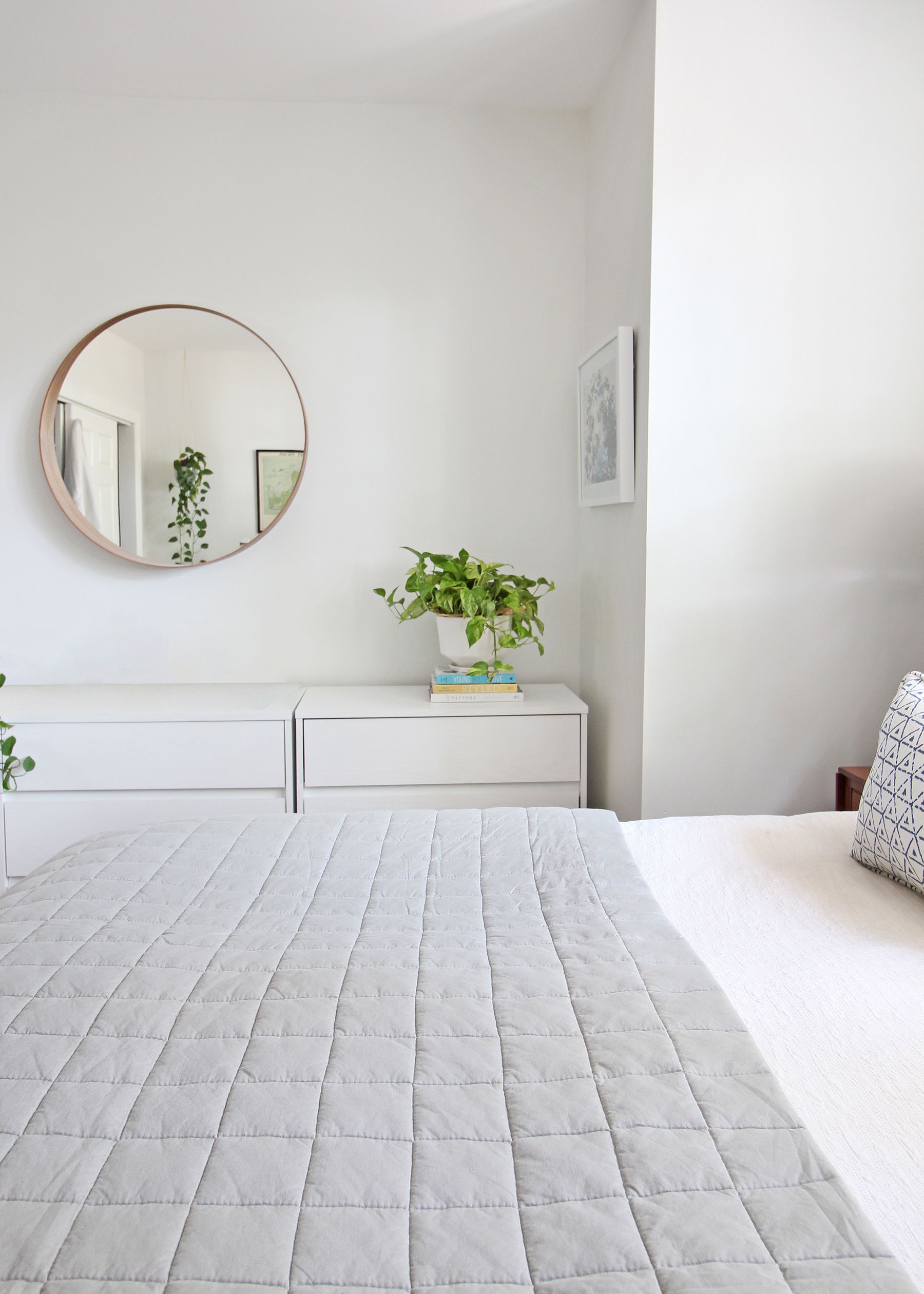 Head to the blog to check out Mix & Match Design Company's mini refresh of her eclectic modern master bedroom. A gray linen quilt works beautifully with her tasseled euro shams, watercolor shams, and blue and white lumbar pillows.
