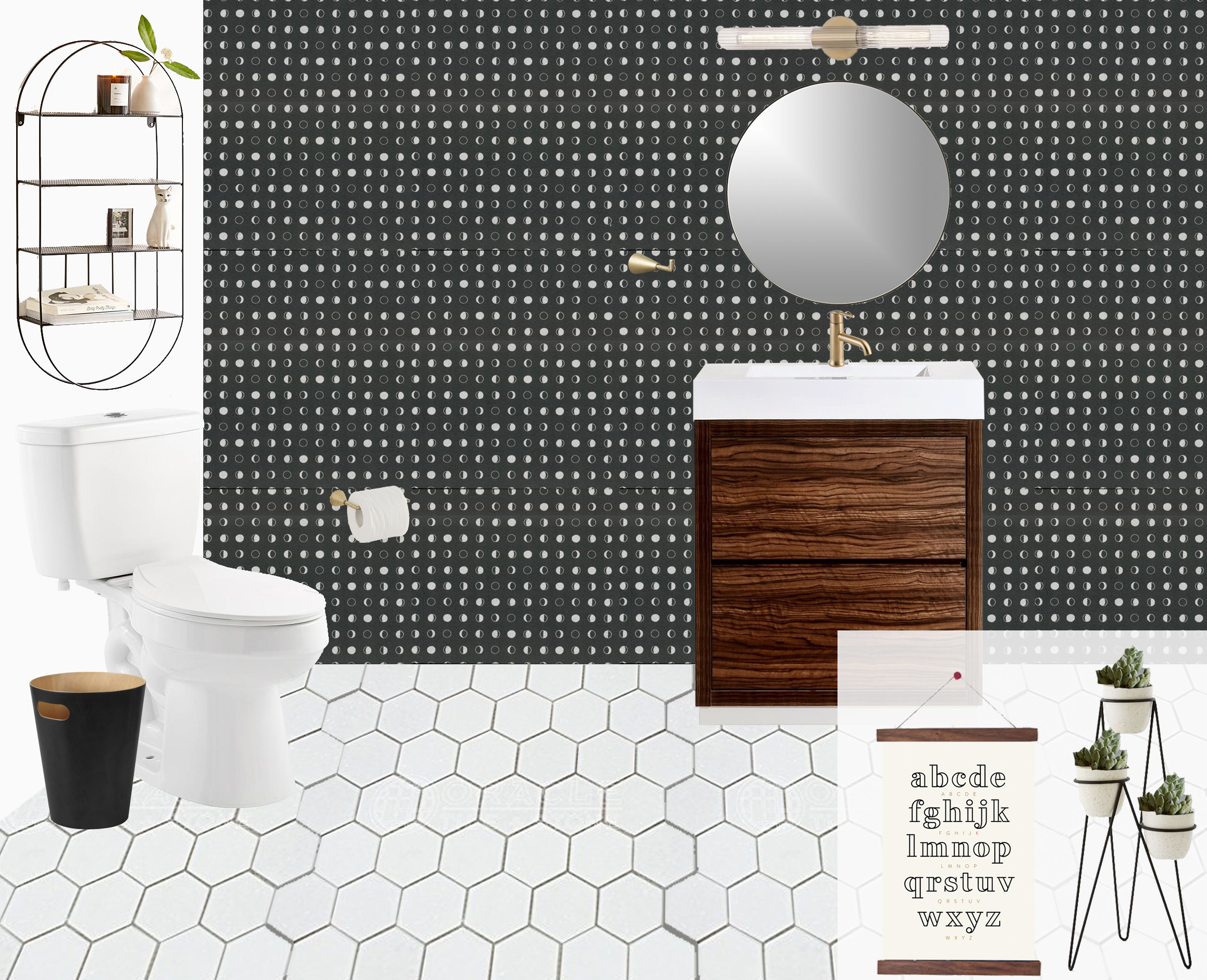 """A modern, space-themed powder room designed by Mix & Match Design Company. This black, white, and brass bathroom is just the right amount of fun and sophisticated, and doesn't go too """"over the top"""" with the space theme! // #edesign"""