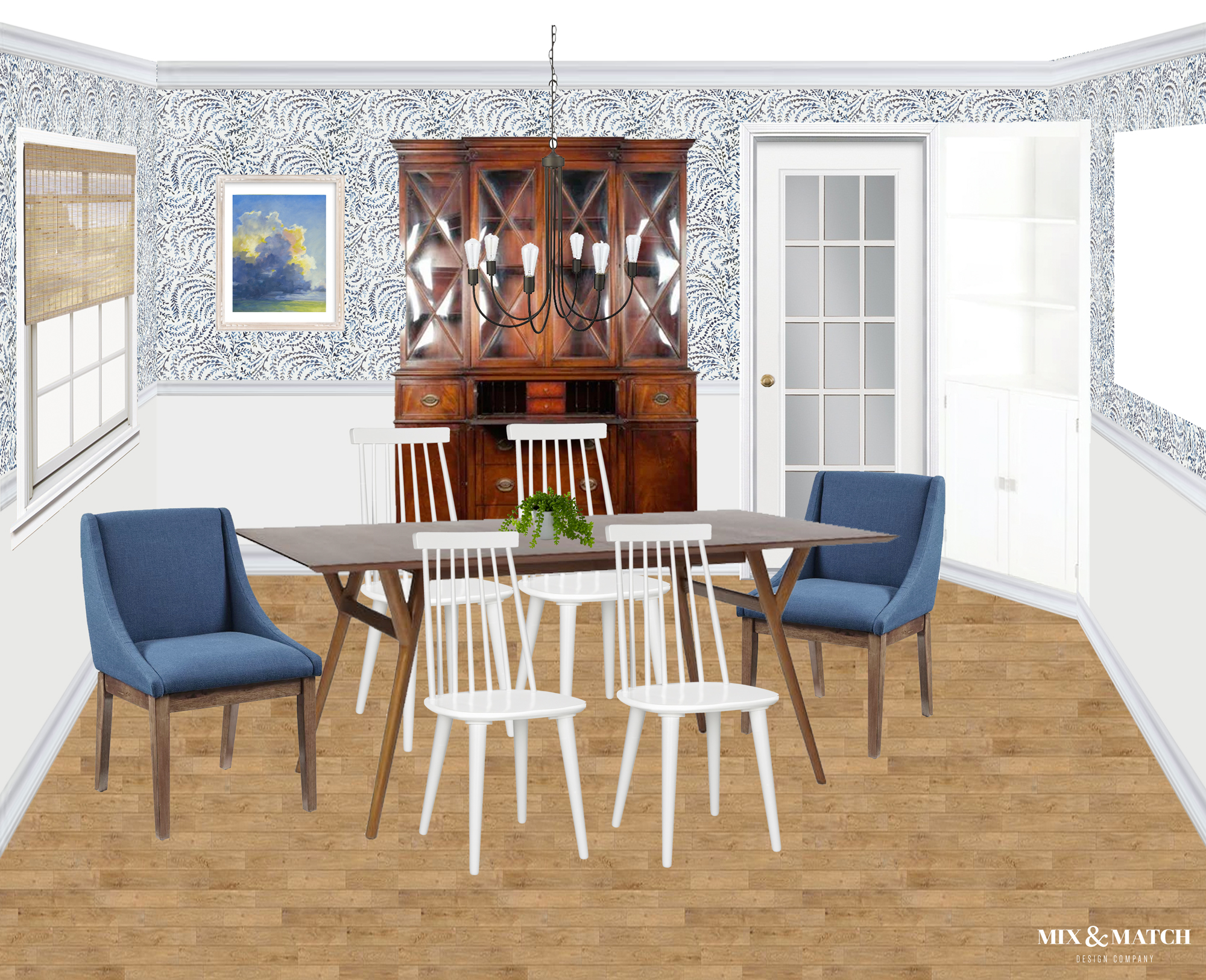 This new traditional dining room designed by Mix & Match Design Company honors the classic architecture of this colonial home, but gives is a fresh feel with clean lined furniture and a blue botanical wallpaper above the wainscoting. // #edesign #newtraditional #diningroom
