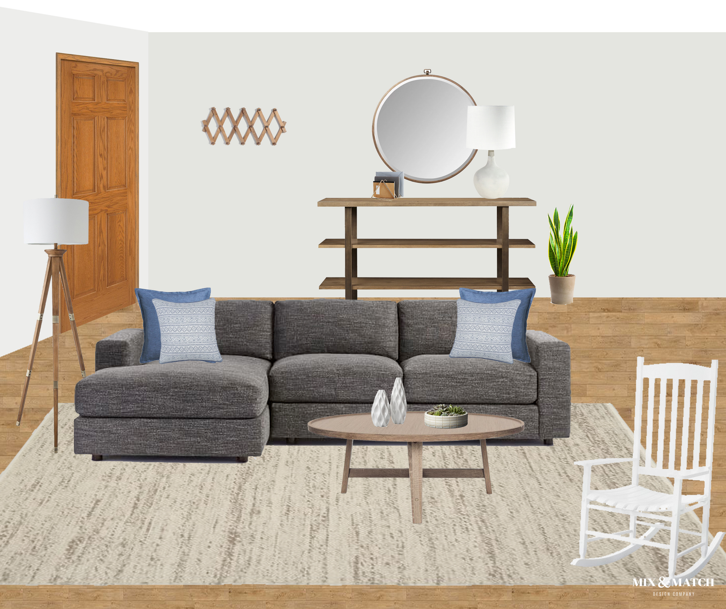 Modern farmhouse living room designed by Mix & Match Design Company. A low, modern sectional with chaise is surrounded by pieces with an industrial farmhouse feel. // #edesign #modernfarmhouselivingroom #neutrallivingroom