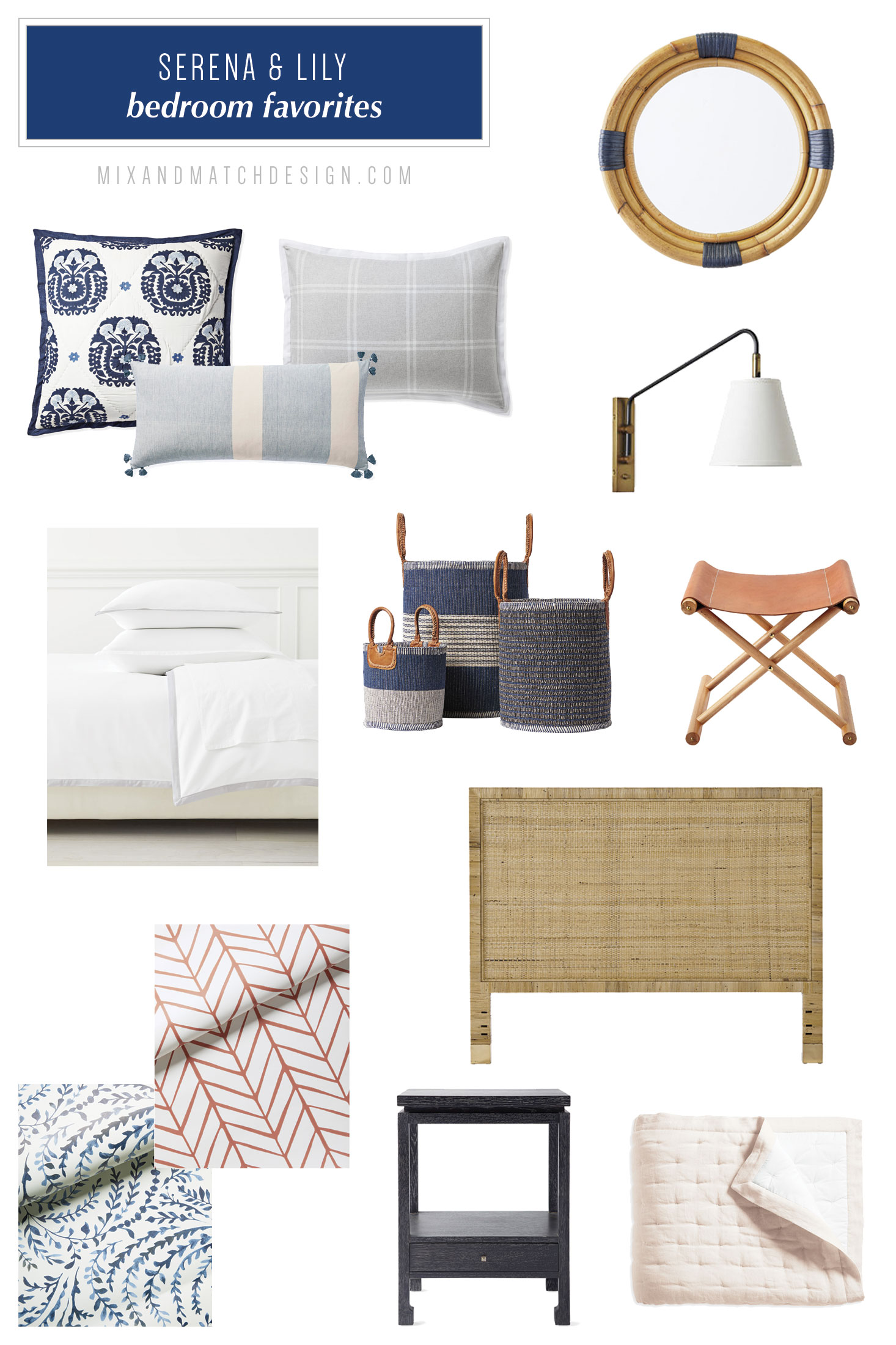 Serena & Lily is one of my favorite places to shop for modern coastal decor and I've rounded up a bunch of my favorites from their collection for the bedroom to share with you! They have an amazing selection of fresh, tailored furniture and home decor for every room in your home. // #designerfinds #interiordesign #decor #moderncoastal
