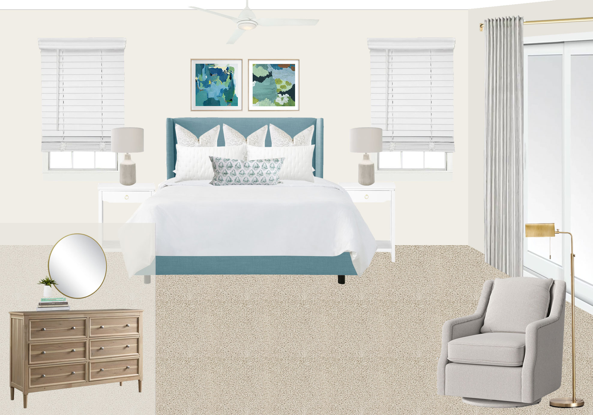 """""""Tailored Coastal"""" bedroom design for a beach house in Corolla, North Carolina by Mix & Match Design Company. The blue upholstered bed pops against the off-white walls and the light wood dresser gives it a subtle beachy vibe."""