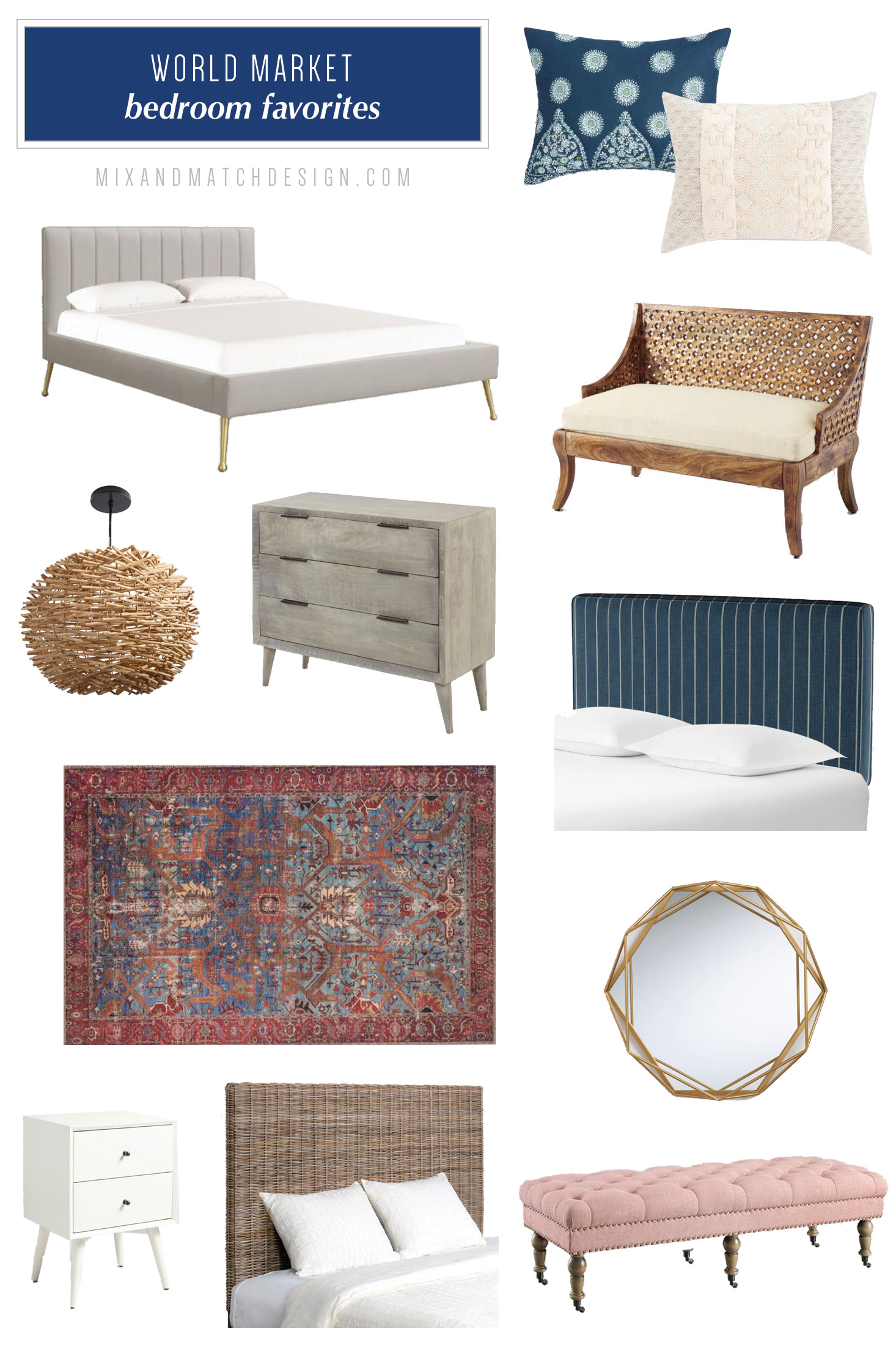 World Market is one of my favorite places to shop for global, mid-century, and eclectic furniture and decor, and I've rounded up a bunch of my favorites for your bedroom to share with you! // #designerfinds #interiordesign #decor #eclecticdecor #globaldecor #decorating