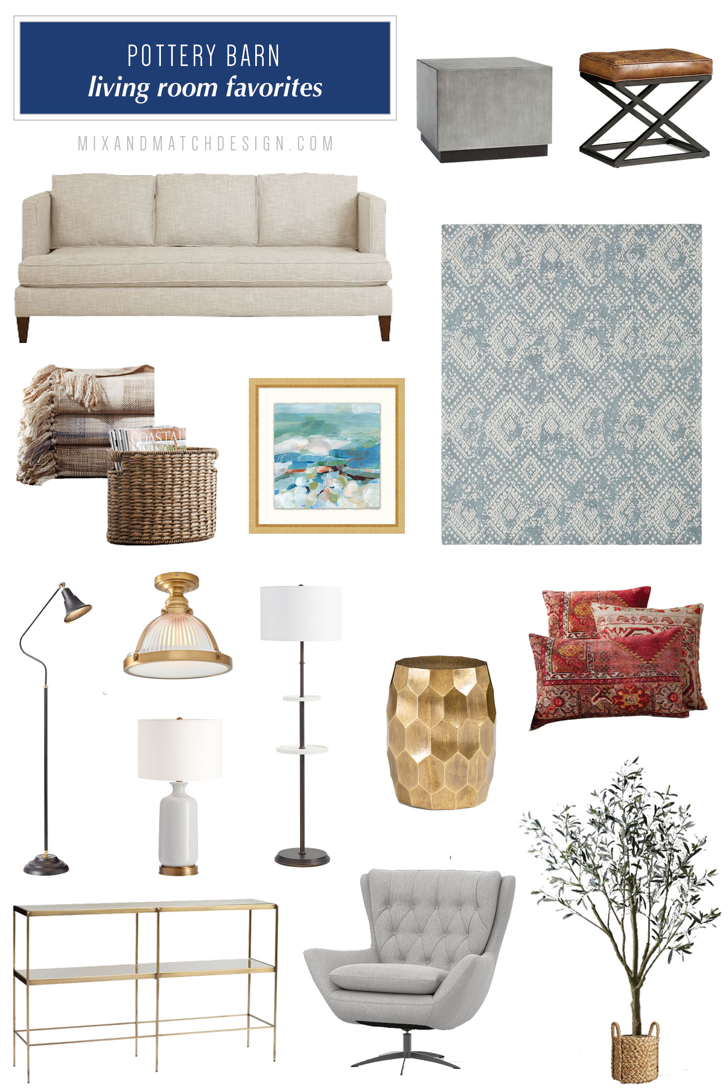 Pottery Barn is one of my favorite places to shop for farmhouse, industrial, and classic furniture and decor, and I've rounded up a bunch of my favorites for your living room to share with you! // #designerfinds #interiordesign #decor #farmhousestyle #modernfarmhouse #decorating