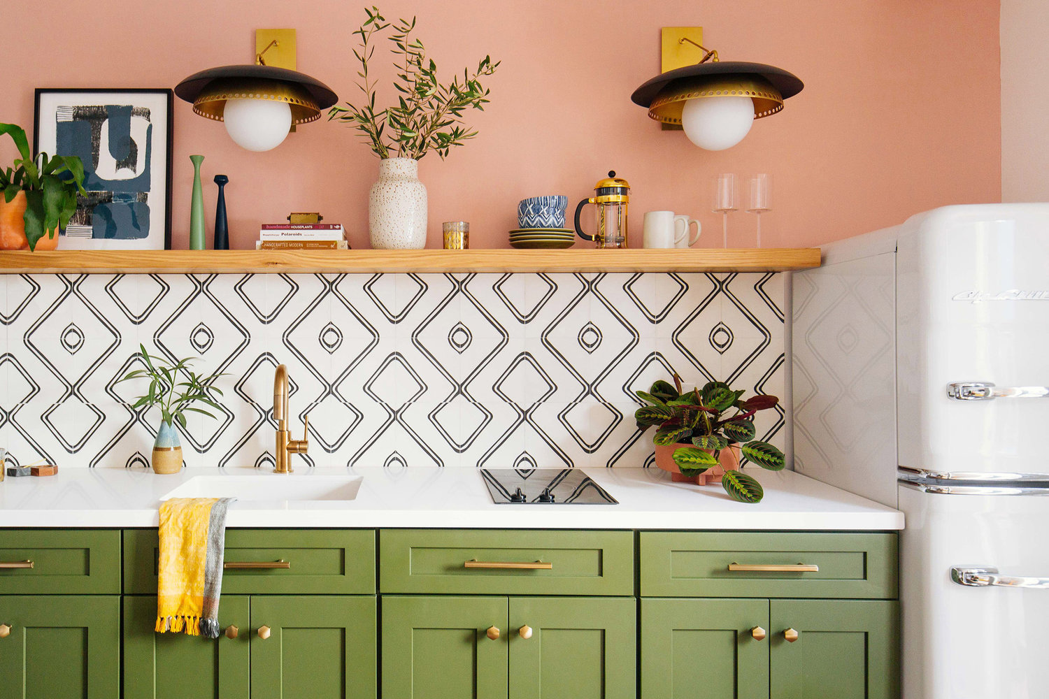 One Room Challenge Fall 2018 | The quirky, eclectic kitchenette from Dabito is so fun - I love the green cabinets, graphic black and white tile, and the fun brass sconces.