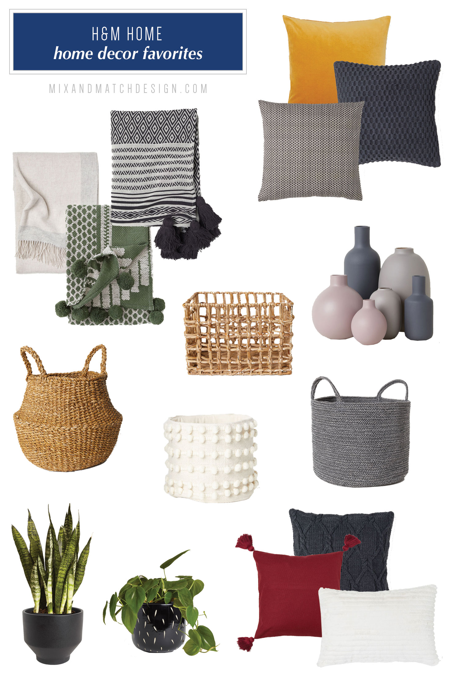 H&M Home is one of my favorite places to shop for affordable home decor and accessories, and I've rounded up a bunch of my favorites for you! They have a mix of styles ranging from boho to modern, and it's all budget-friendly. // #designerfinds #interiordesign #homedecor #moderndecor