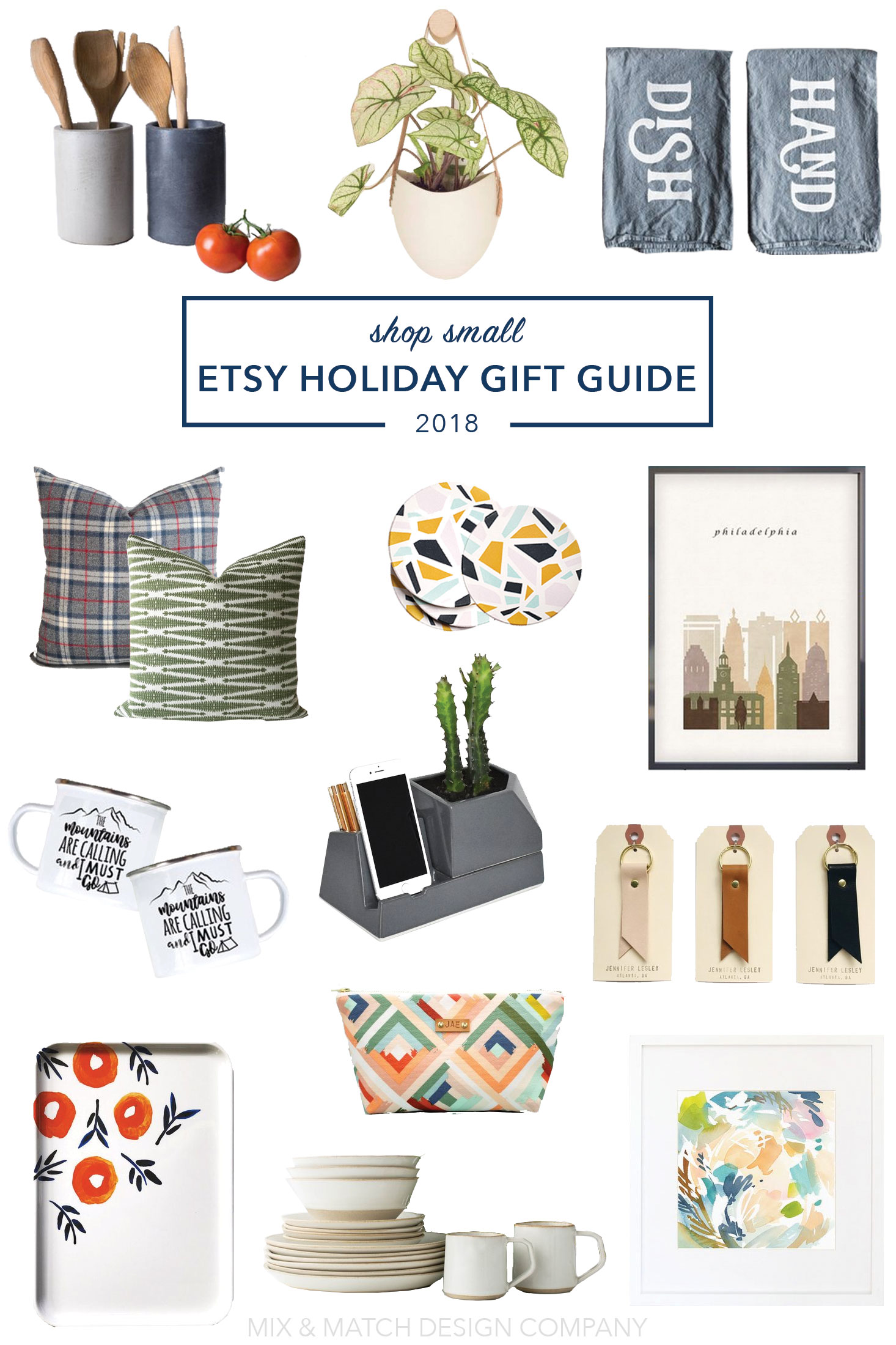 Looking to support small businesses with your gift giving this holiday season? I've got you covered! You'll find everything from art to stocking stuffers, tabletop and kitchen pieces to iphone stands with planters in this gift guide! \\ #2018holidaygiftguide #moderngiftguide #etsygiftguide
