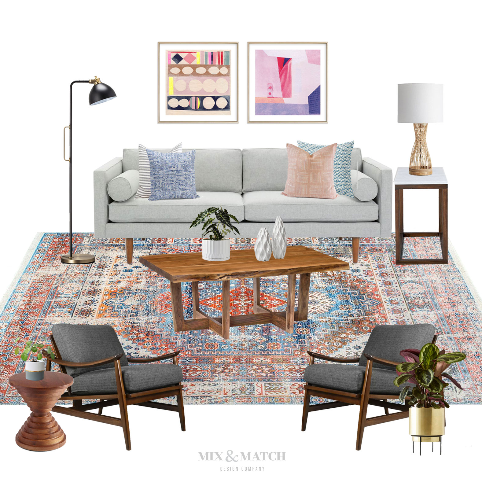 Taking a look back at the top 10 blog posts for Mix & Match Design Company of 2018! Come see what was popular in interior decorating, design tips, e-design projects, and more. One of the posts that made the list? The Get the Look series! See how you can get this mid-century modern eclectic look for your own living room.