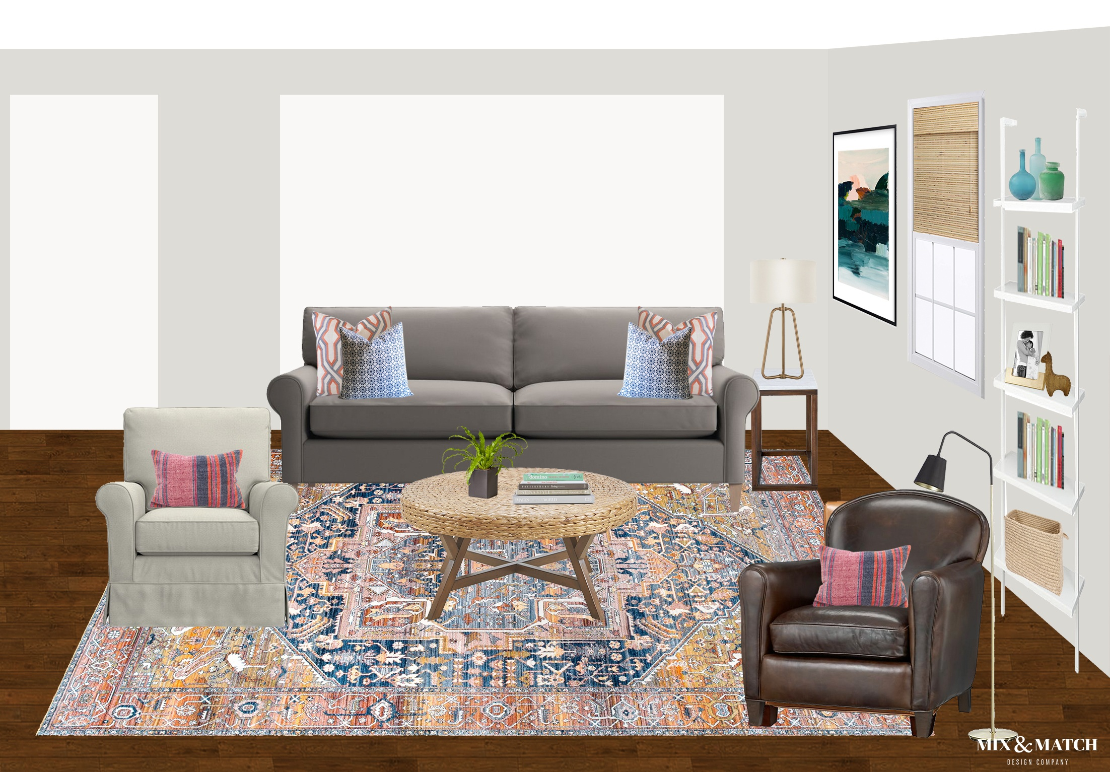 Are you redecorating your home in 2019? Let's chat! My approachable and affordable e-design packages might be just the right fit. Get the design help you need from Mix & Match Design Company's virtual interior design services and turn your home into a space you love! // eclectic transitional living room, boho transitional living room, vintage style rug living room