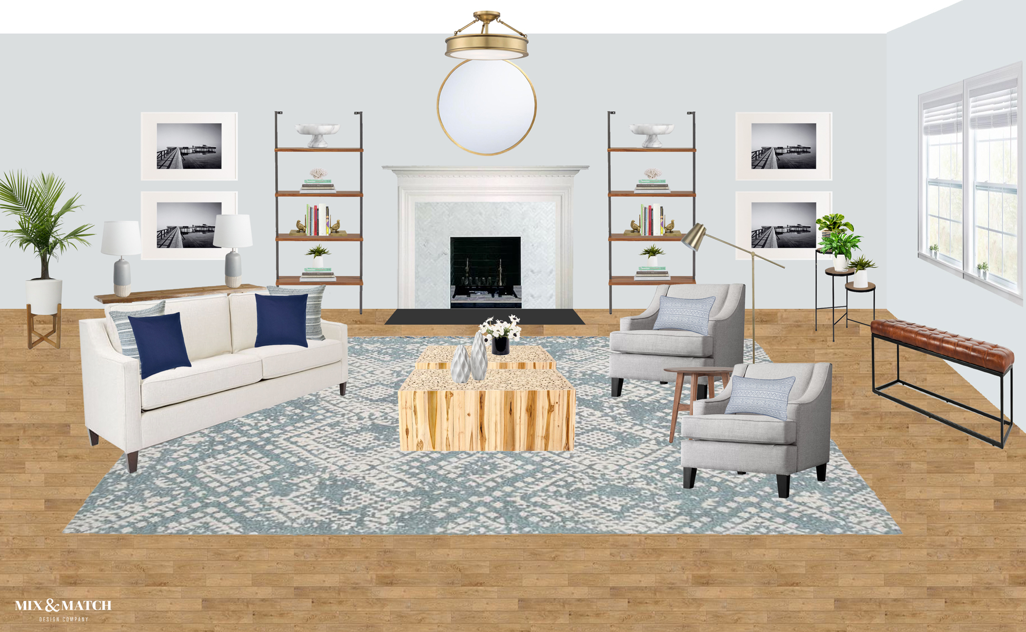 Are you redecorating your home in 2019? Let's chat! My approachable and affordable e-design packages might be just the right fit. Get the design help you need from Mix & Match Design Company's virtual interior design services and turn your home into a space you love! // coastal modern living room, mid-century coastal living room, blue living room