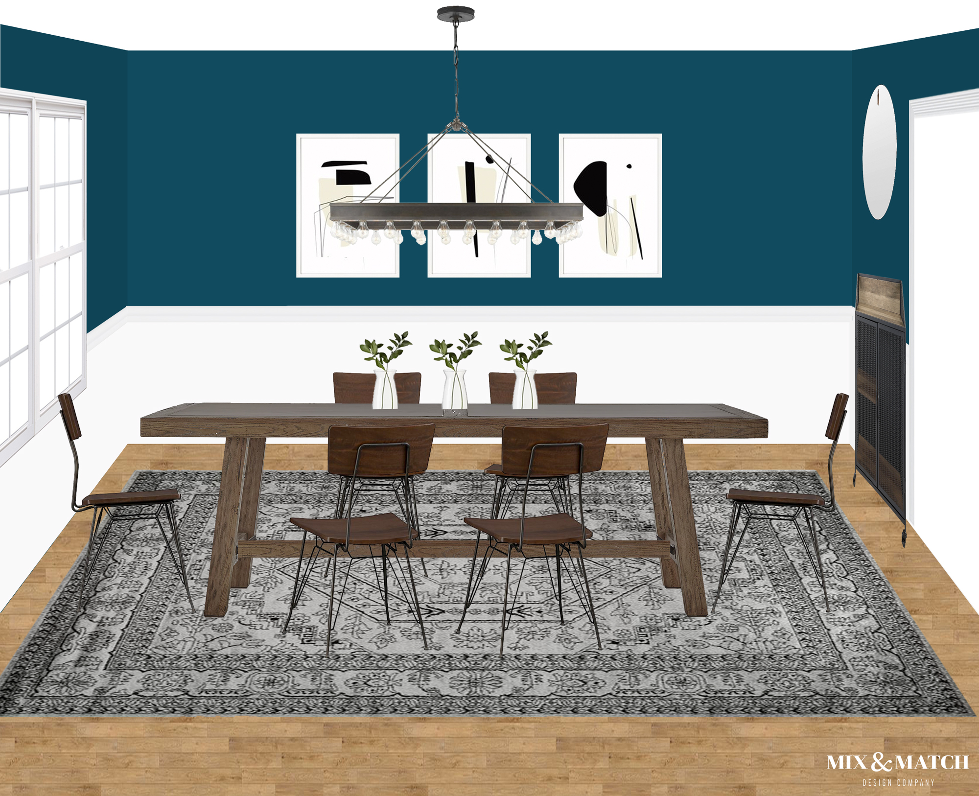 Are you redecorating your home in 2019? Let's chat! My approachable and affordable e-design packages might be just the right fit. Get the design help you need from Mix & Match Design Company's virtual interior design services and turn your home into a space you love! // industrial dining room, industrial modern dining room, blue dining room