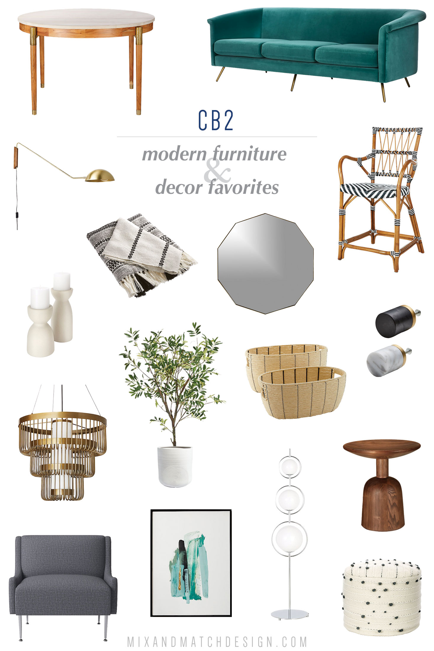 CB2 is one of my favorite places to shop for affordable modern home furniture, decor, and accessories, and I've rounded up a bunch of my favorites for you! In addition to modern decor, they also mix in styles ranging from boho to glam to tribal - there's so much to love! // #designerfinds #interiordesign #homedecor #moderndecor