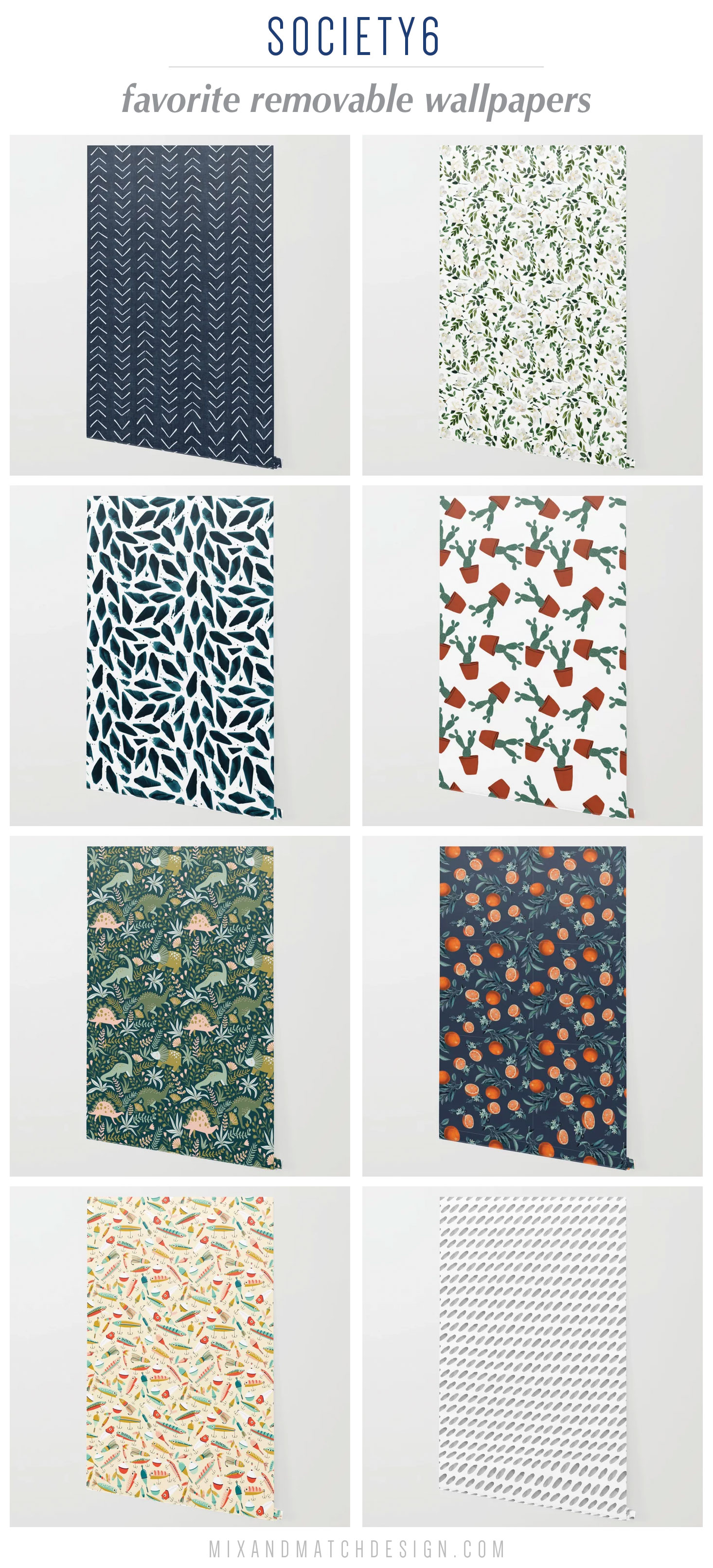 Society6 just launched removable wallpaper on their site and I'm loving it! Removable wallpapers are perfect for powder rooms, bedroom accent walls, entryways, and so many other spots in your home. The fact that it's temporary makes it perfect for a rental or for those of us who have trouble committing to the permanent kind!