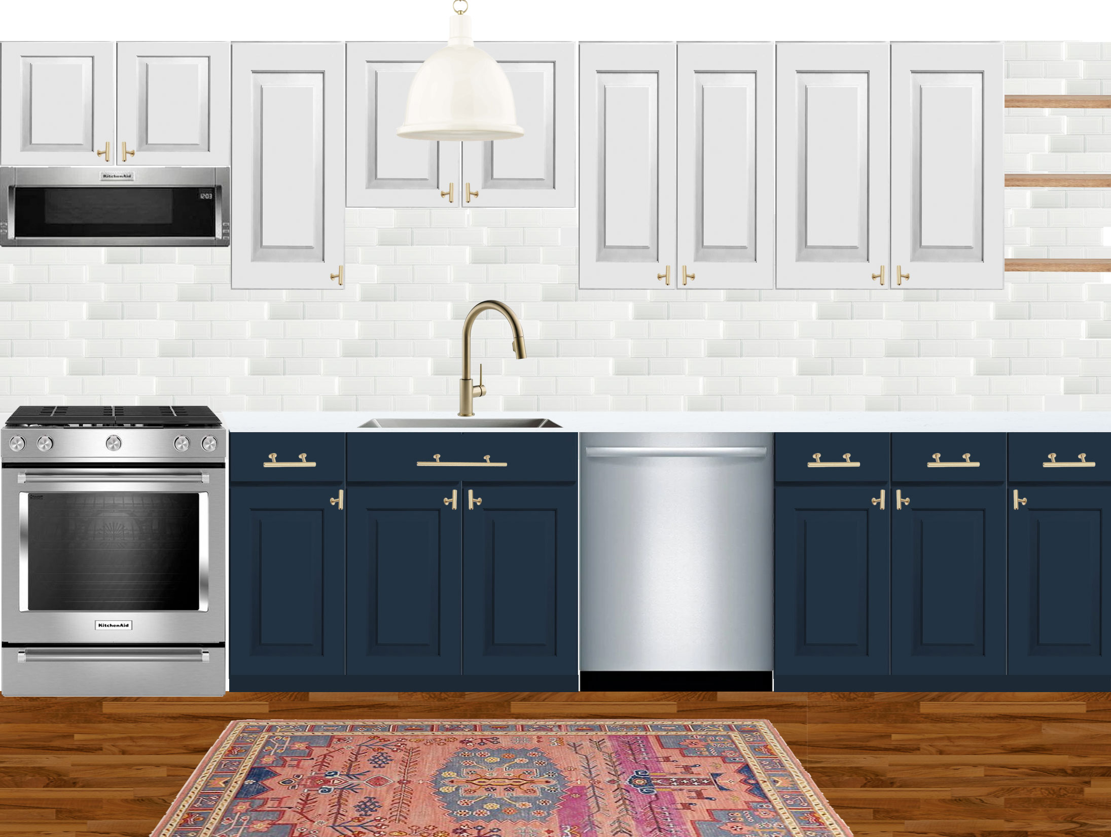 Design board for a small navy and white kitchen with brass hardware and marble-like quartz countertops by Mix & Match Design Company. The vintage rug adds some additional color and pattern to this gorgeous kitchen!